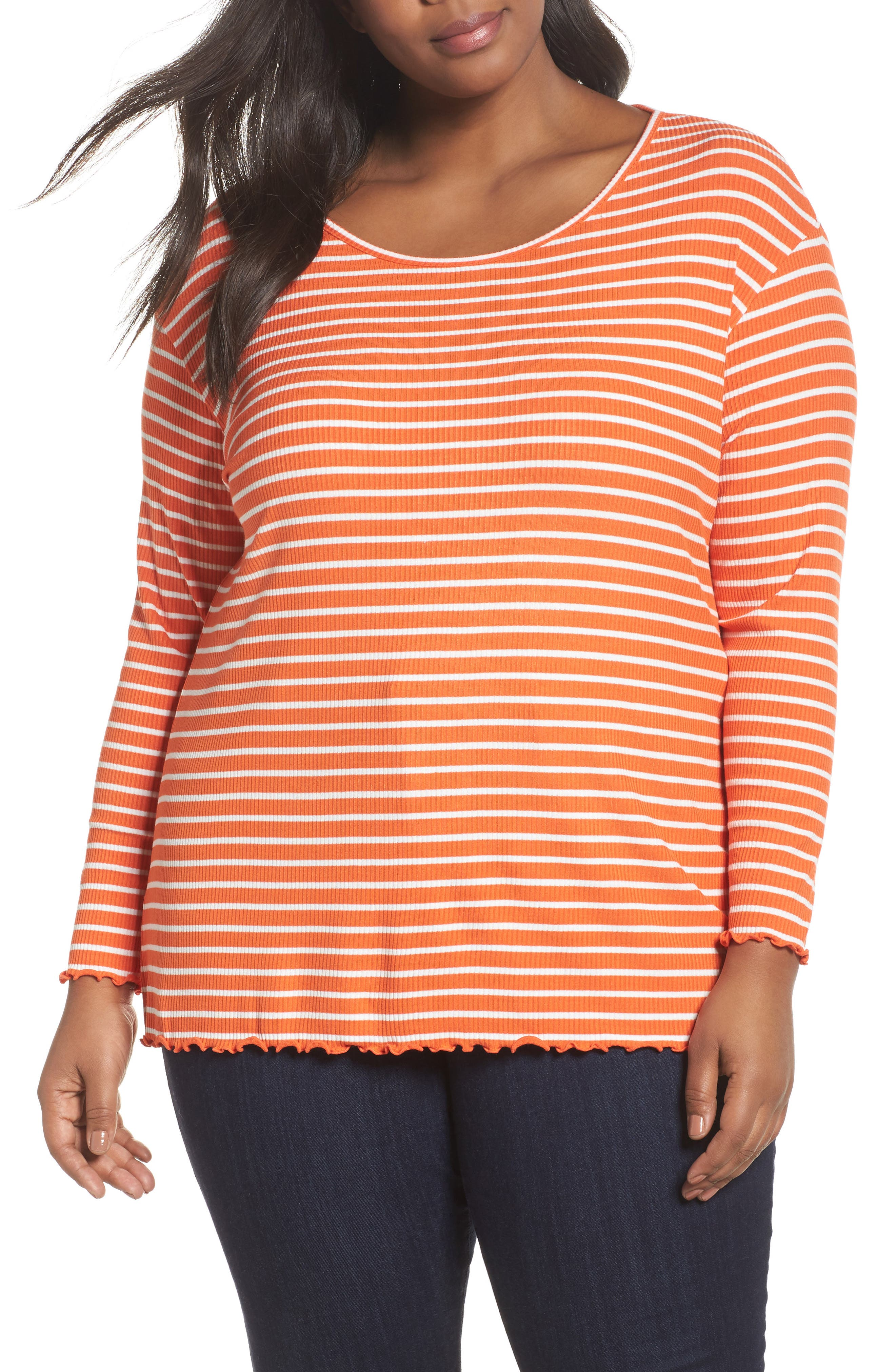 Sejour Scoop Neck Long Sleeve Tee (Plus Size)
