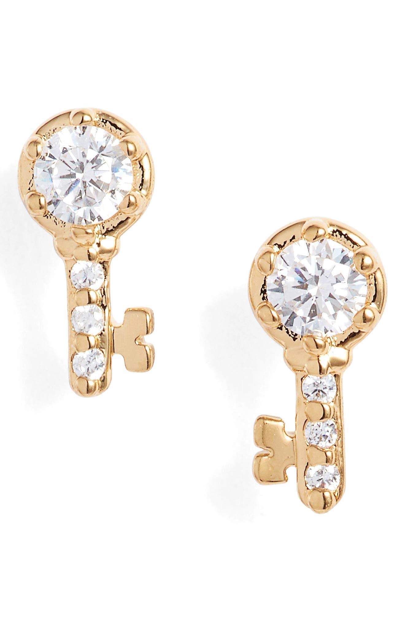 Reminisce Cubic Zirconia Key Stud Earrings,                             Main thumbnail 1, color,                             Gold