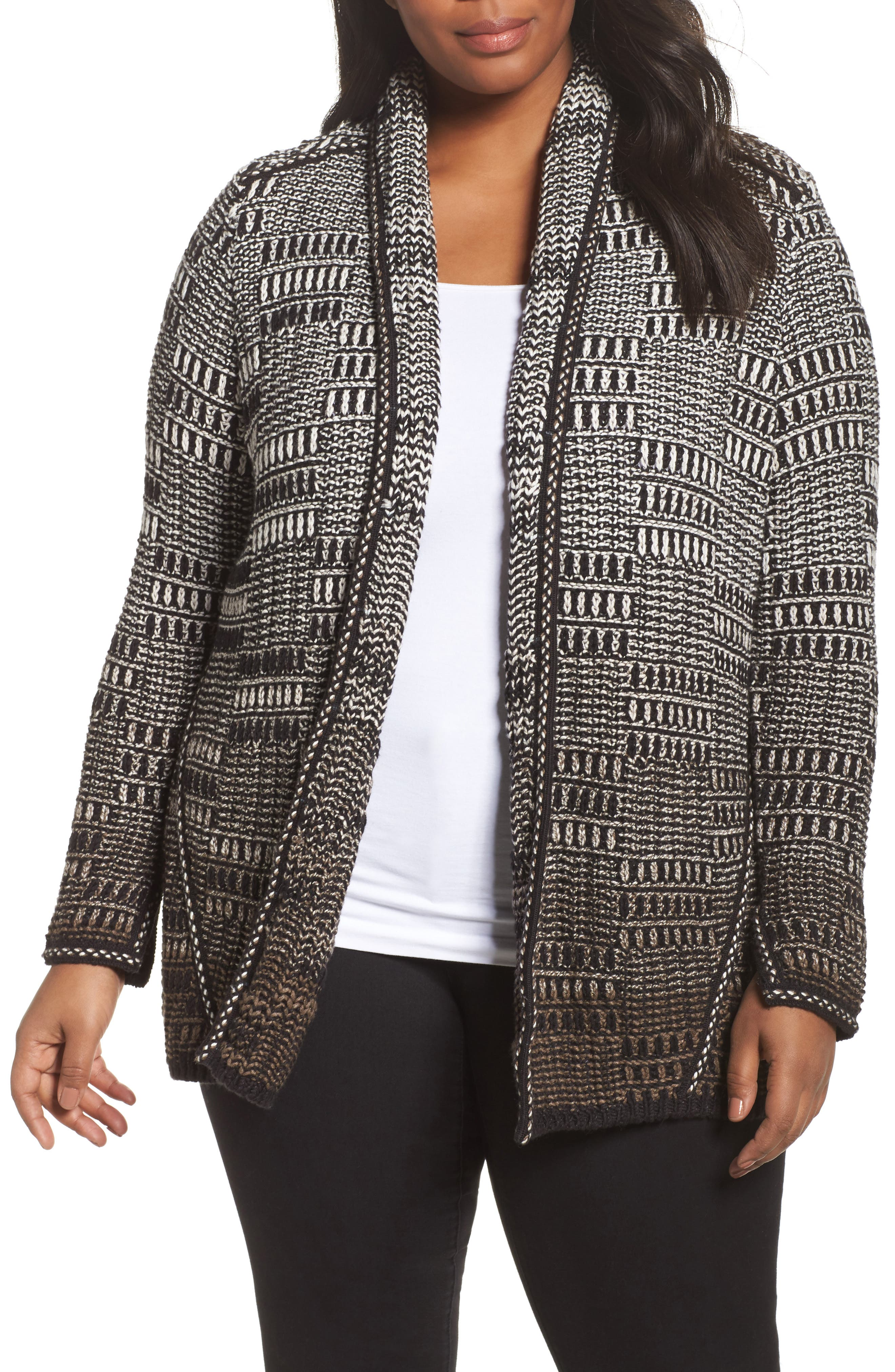 Alternate Image 1 Selected - NIC+ZOE All the Lines Cardigan (Plus Size)