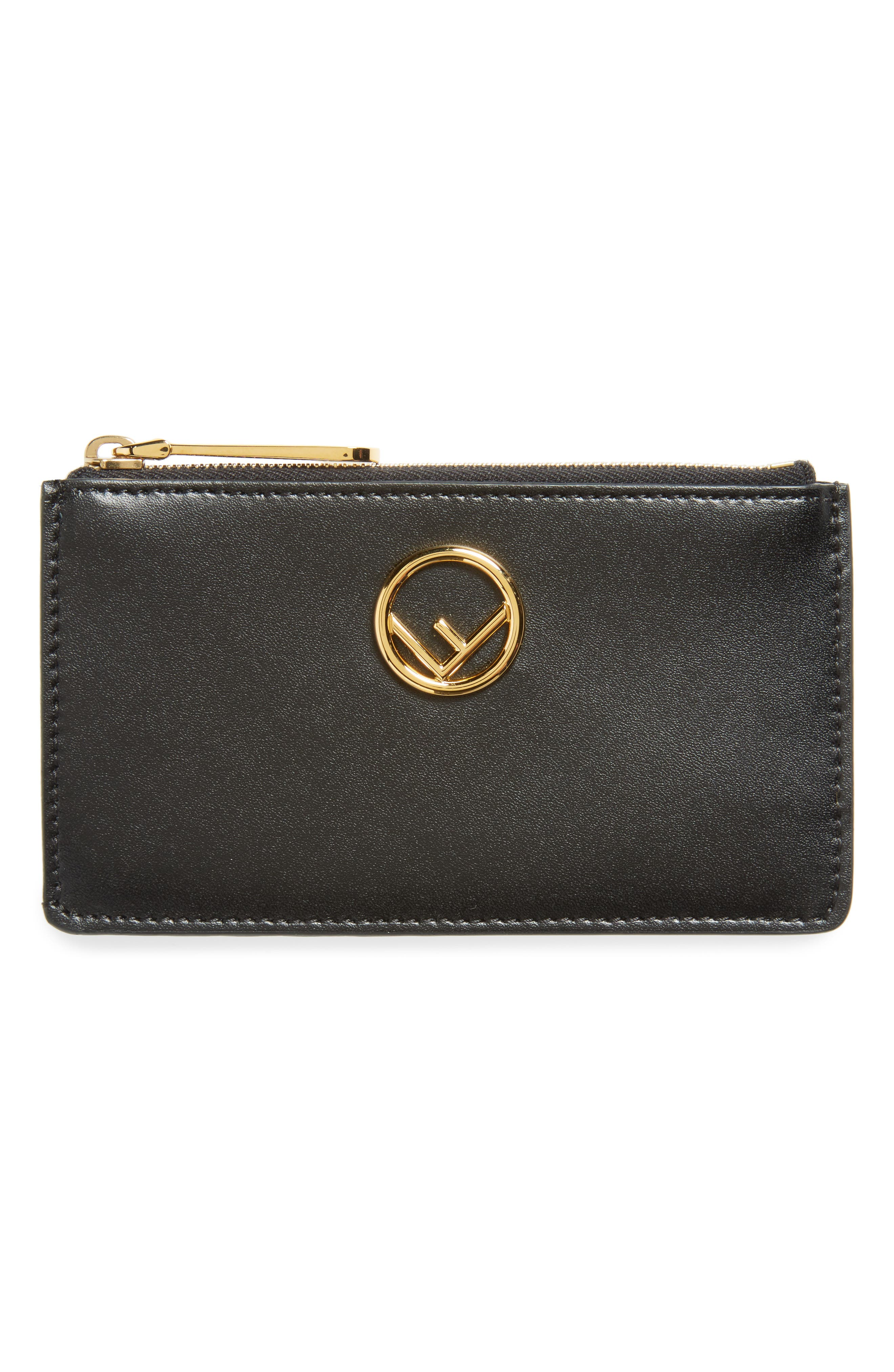 Leather Card Case,                             Main thumbnail 1, color,                             Nero/ Oro Soft
