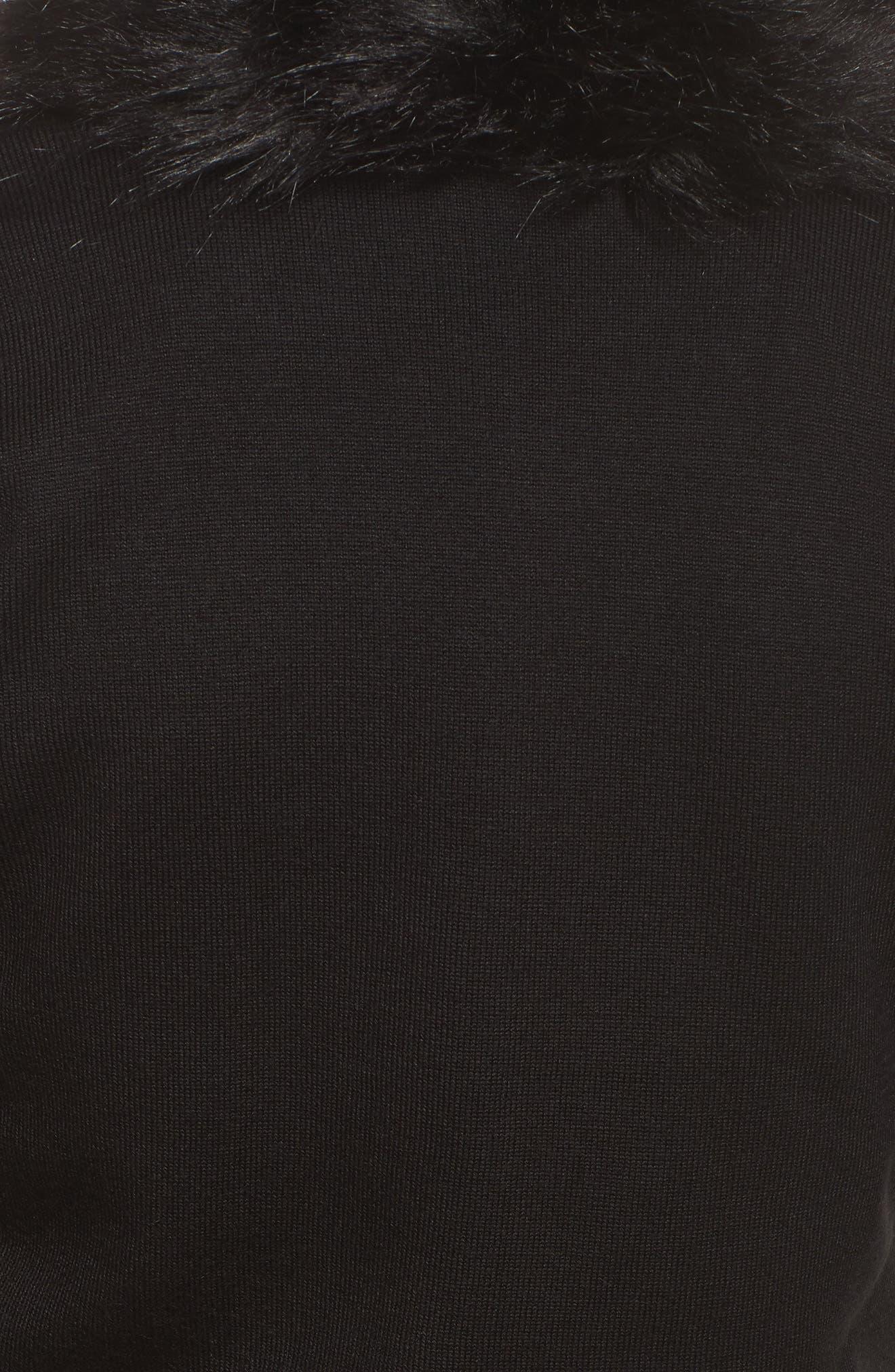 Faux Fur Trim Cardigan,                             Alternate thumbnail 5, color,                             Black