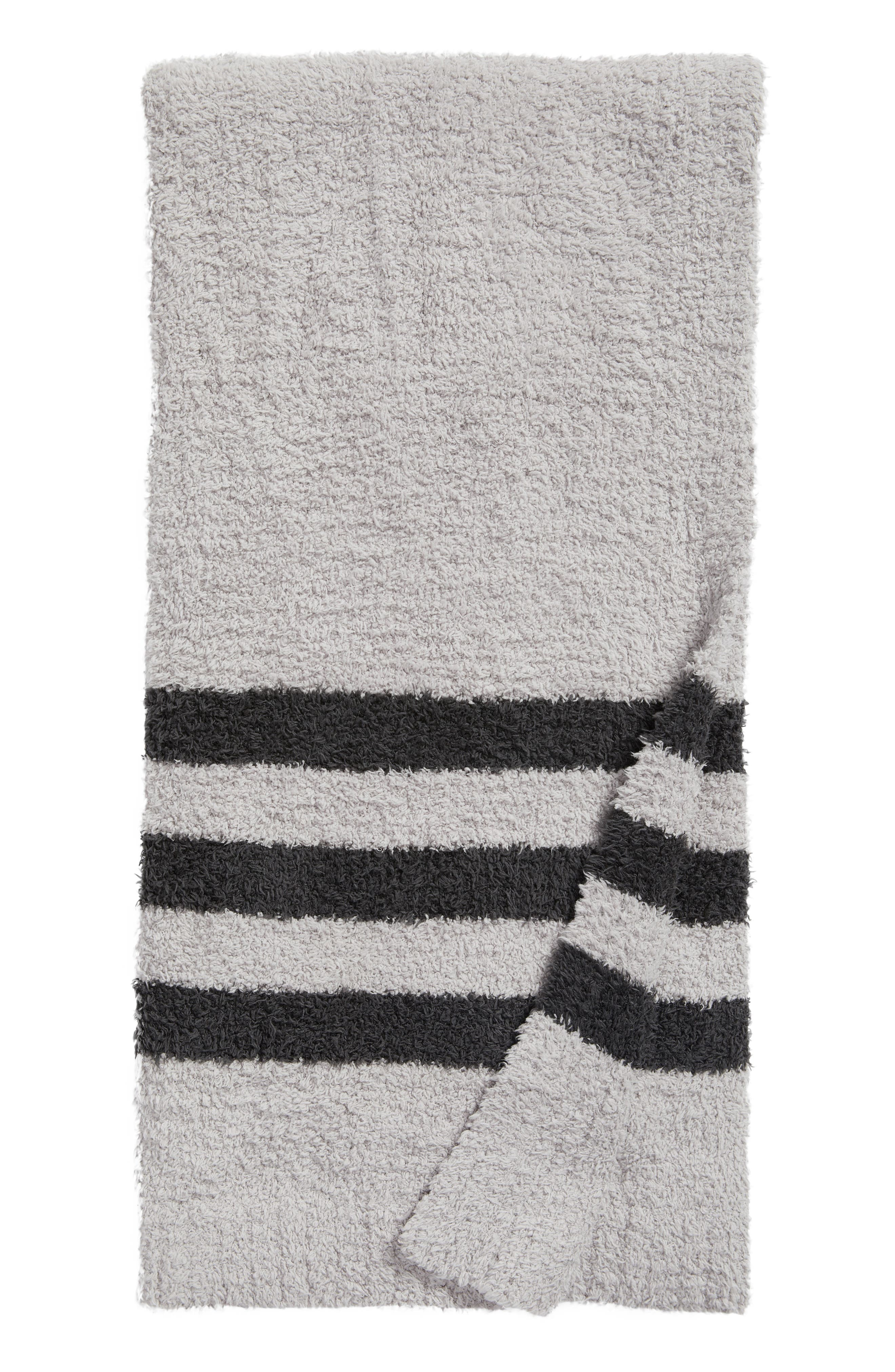 Barefoot Dreams Cozychic<sup>®</sup> Tri Stripe Throw,                         Main,                         color, Oyster/ Carbon