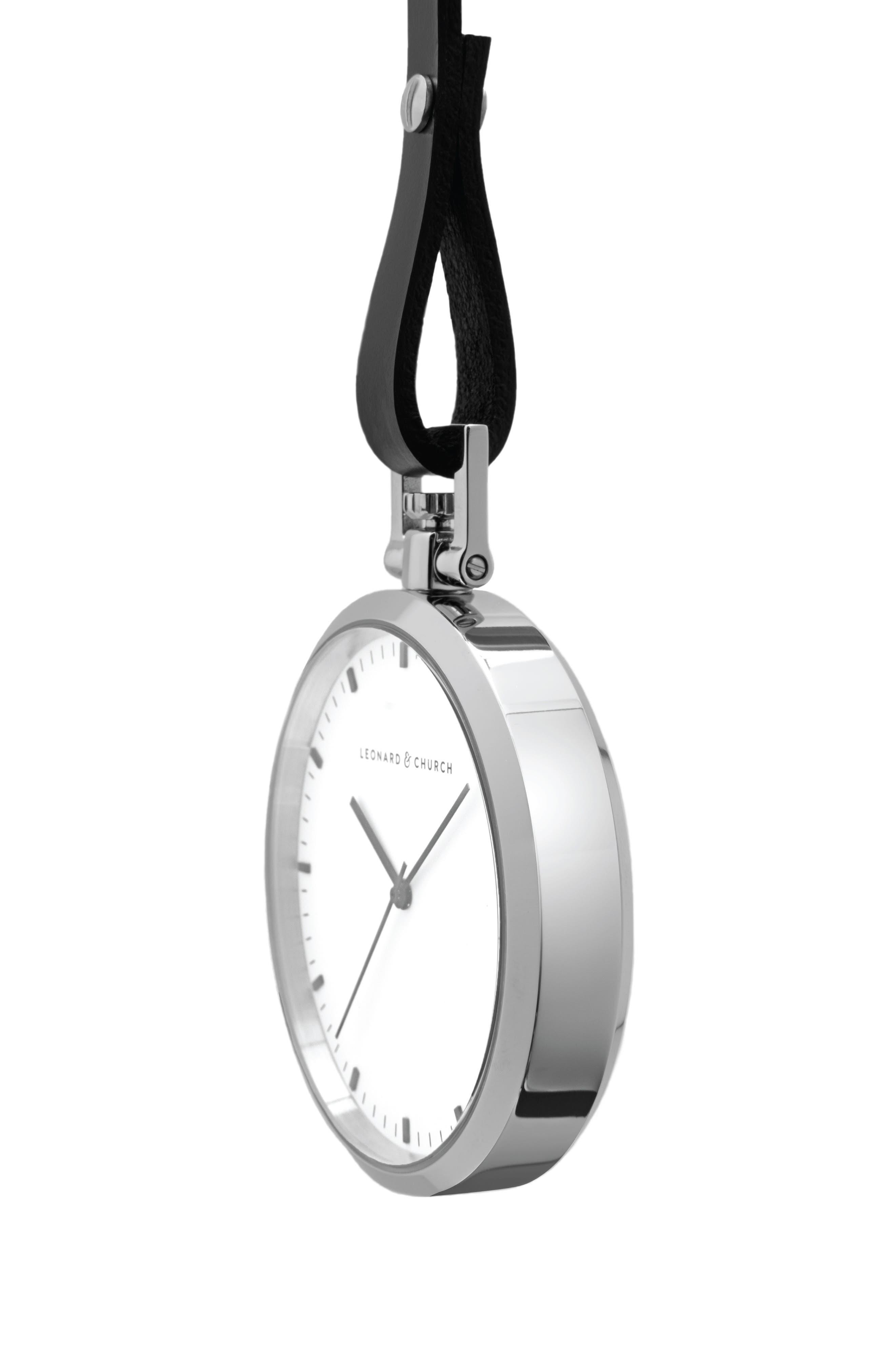 Leonard & Church Prospect Leather Strap Pocket Watch, 48mm,                             Alternate thumbnail 2, color,                             Silver