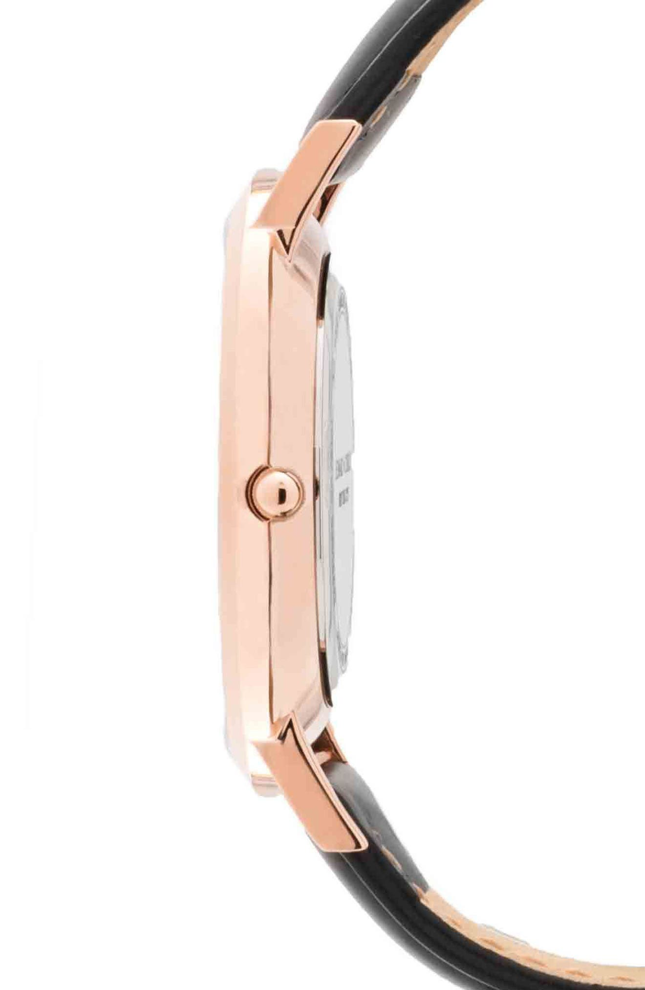 Leonard & Church Crosby Leather Strap Watch, 40mm,                             Alternate thumbnail 2, color,                             Black/ Rose Gold