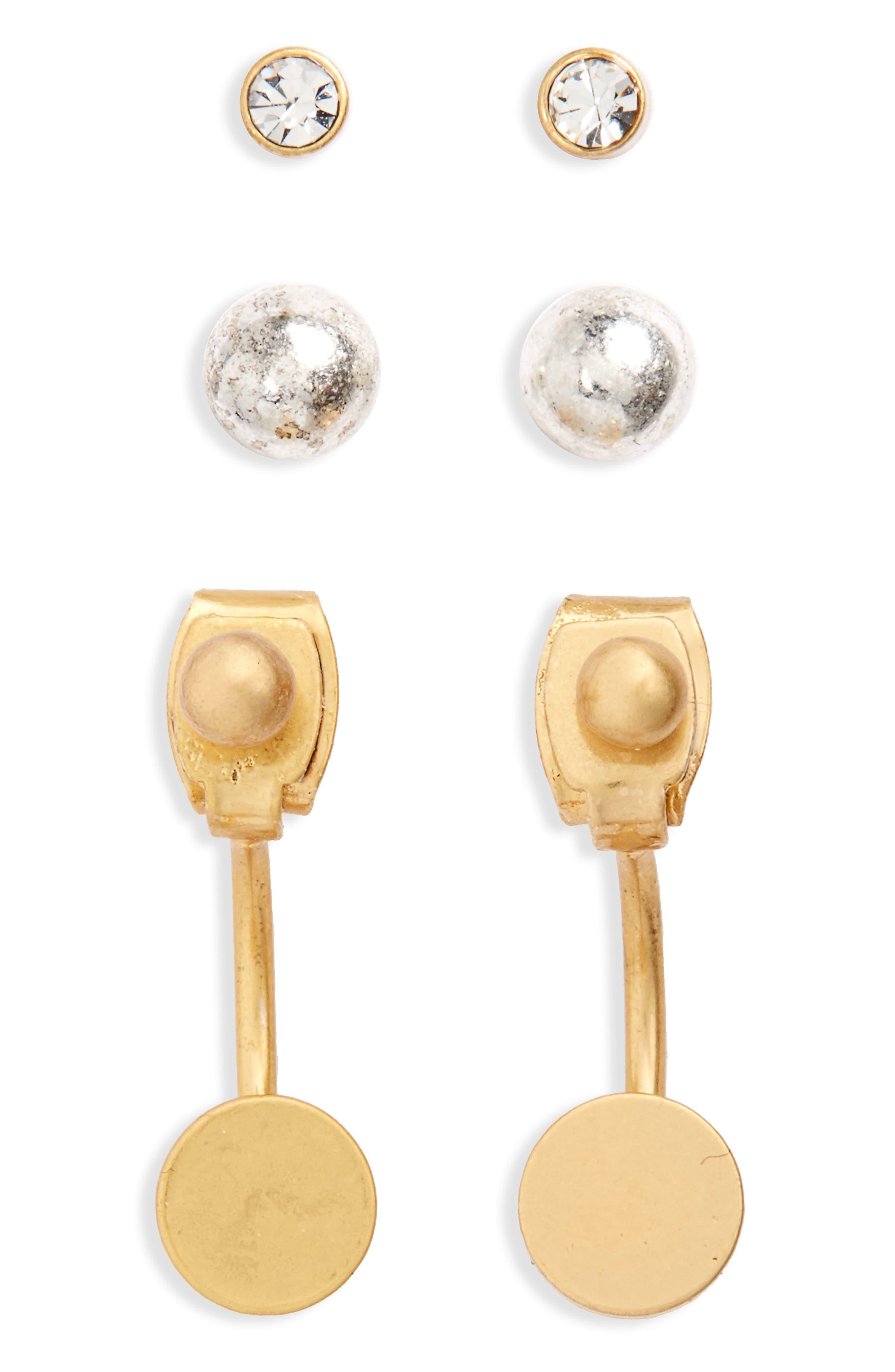 Set of 3 Earrings,                         Main,                         color, Mixed Metal