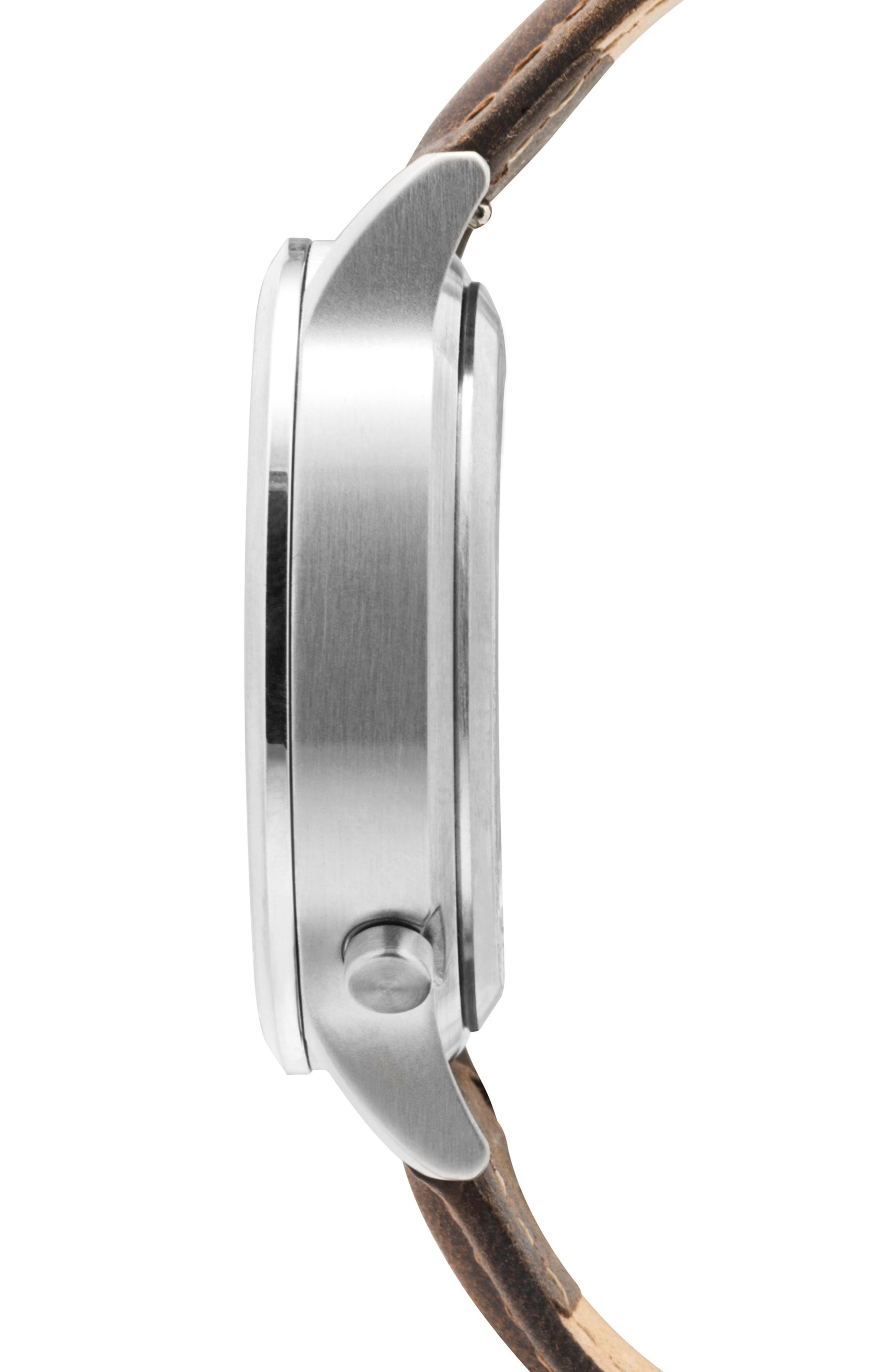 Leonard & Church Sullivan Automatic Suede Strap Watch, 39mm,                             Alternate thumbnail 3, color,                             Dark Brown/ Blue/ Silver