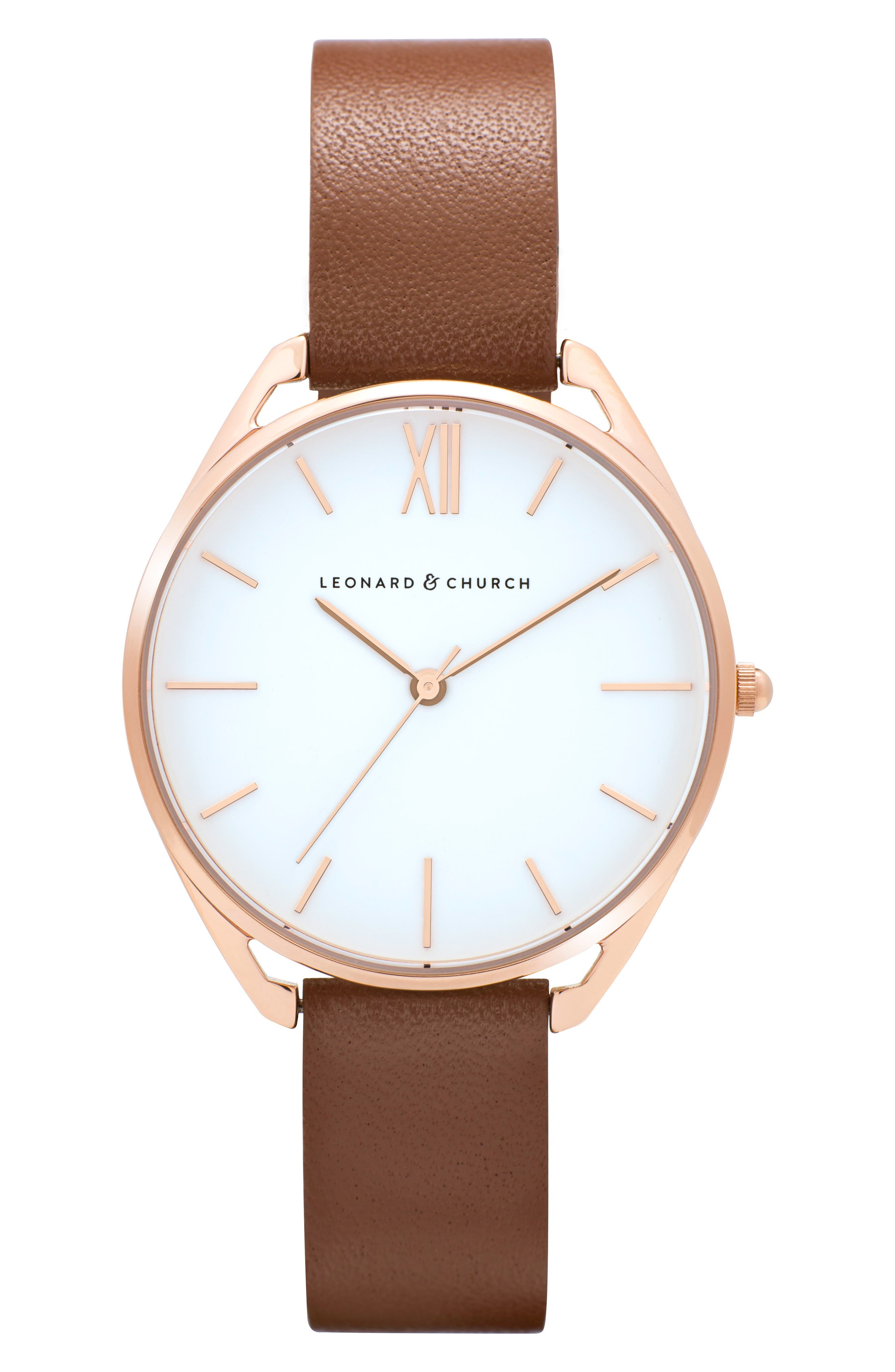 Leonard & Church Chelsea Leather Strap Watch, 34mm,                         Main,                         color, Brown/ White/ Rose Gold