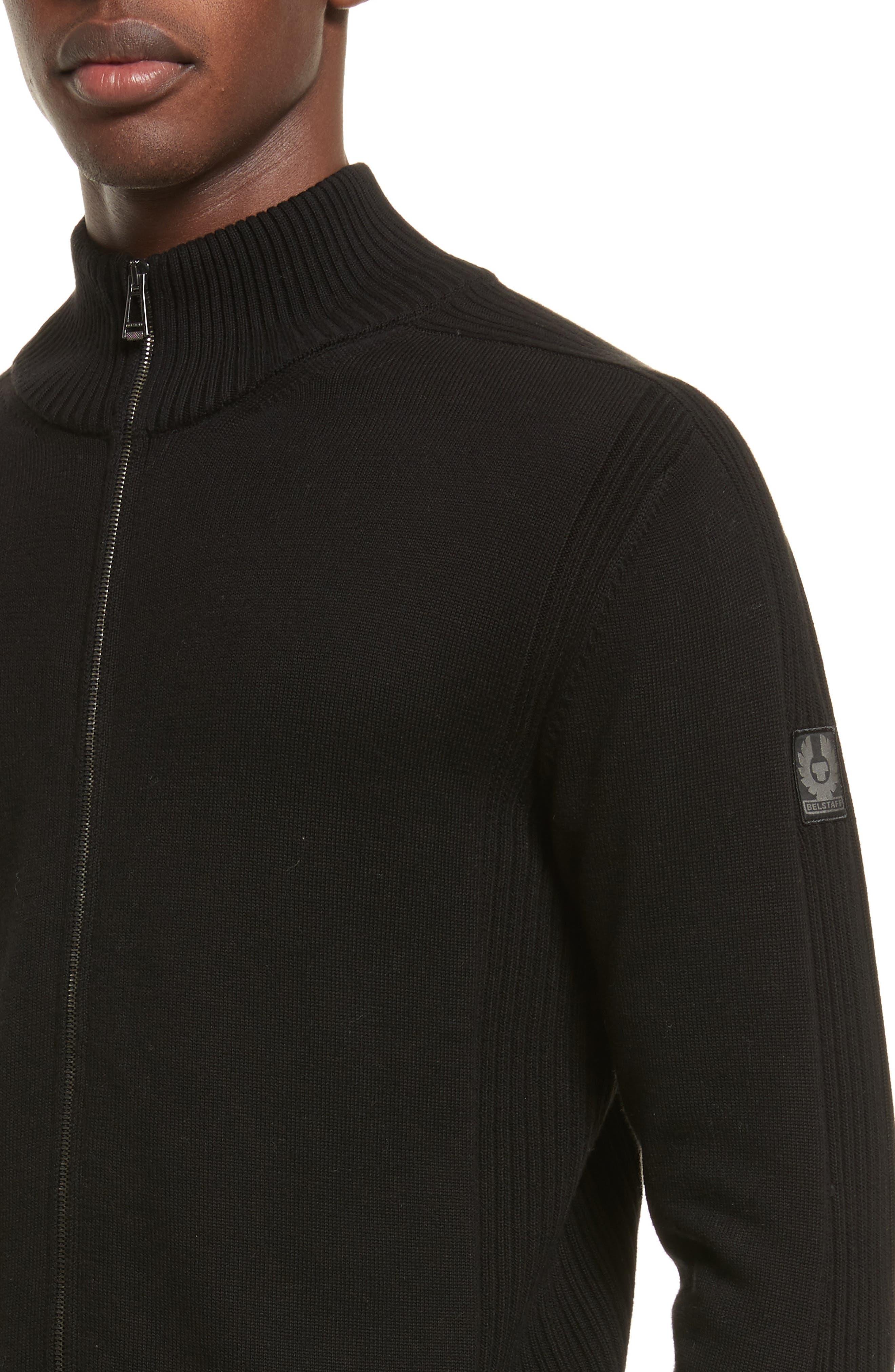 Allerford Knit Cotton Jacket,                             Alternate thumbnail 4, color,                             Black