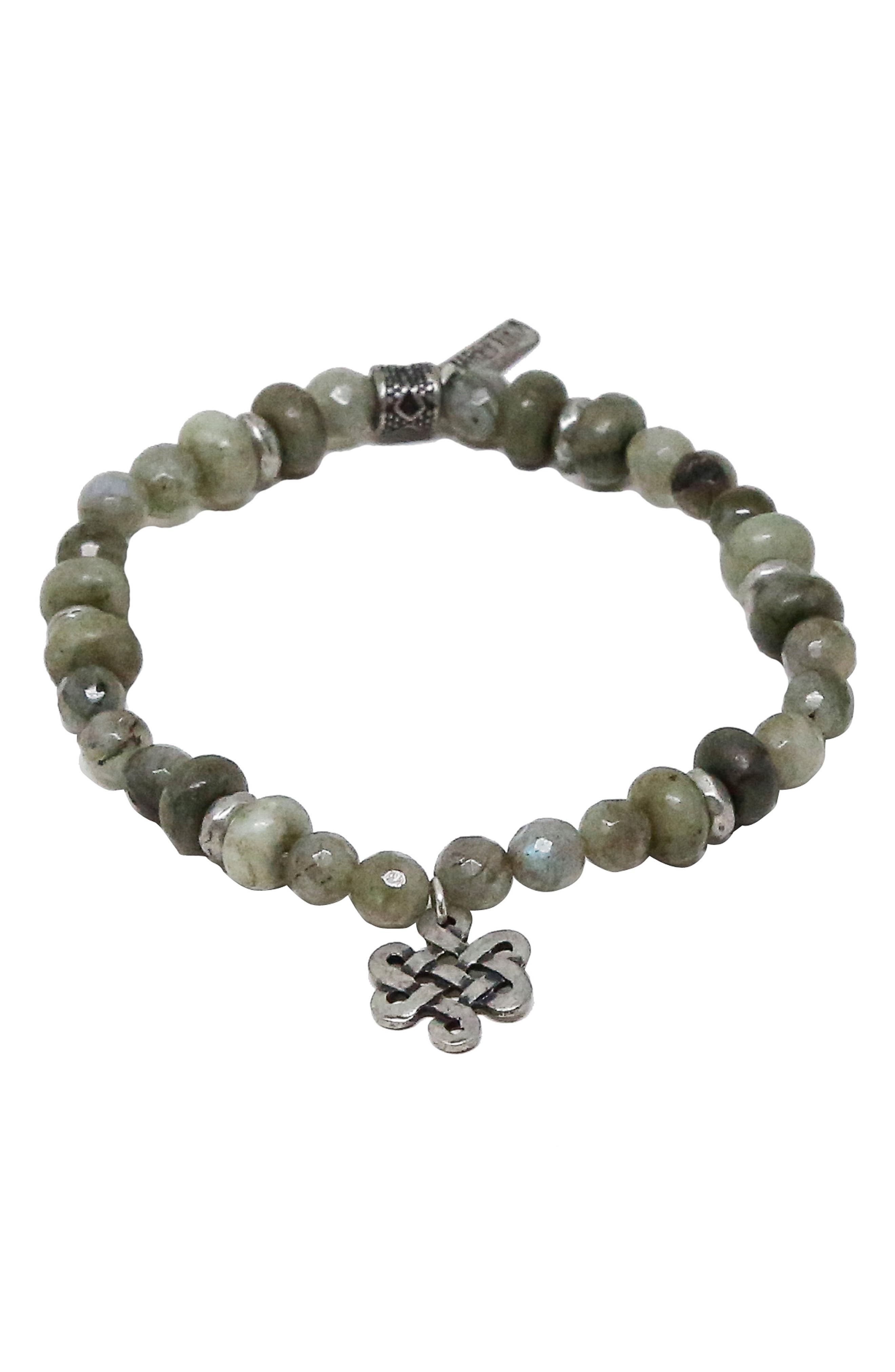 Labradorite Stretch Bracelet,                             Main thumbnail 1, color,                             Grey