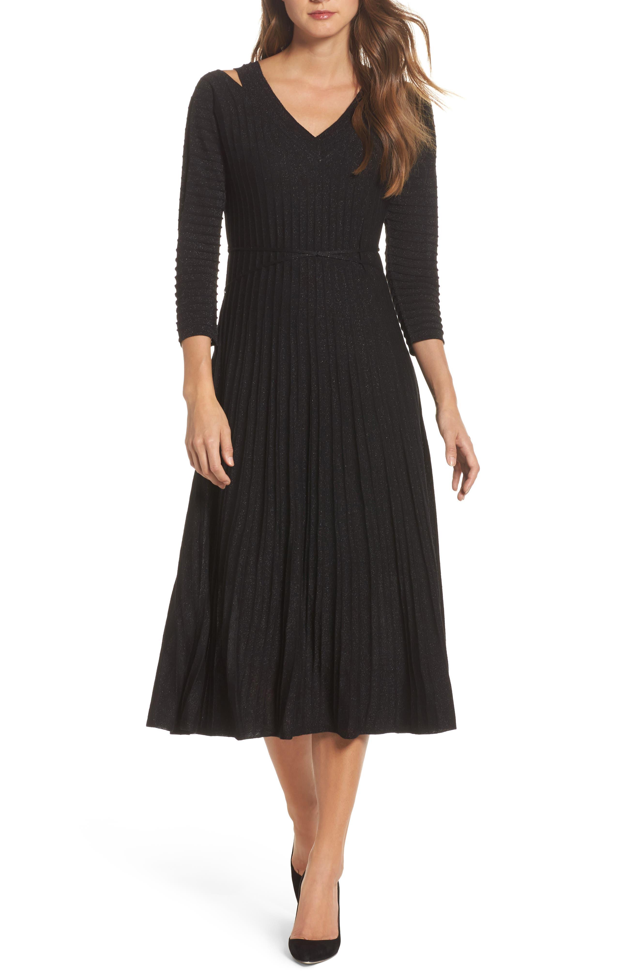 NIC + ZOE Shimmer Pleats Dress,                             Main thumbnail 1, color,                             Metallic B