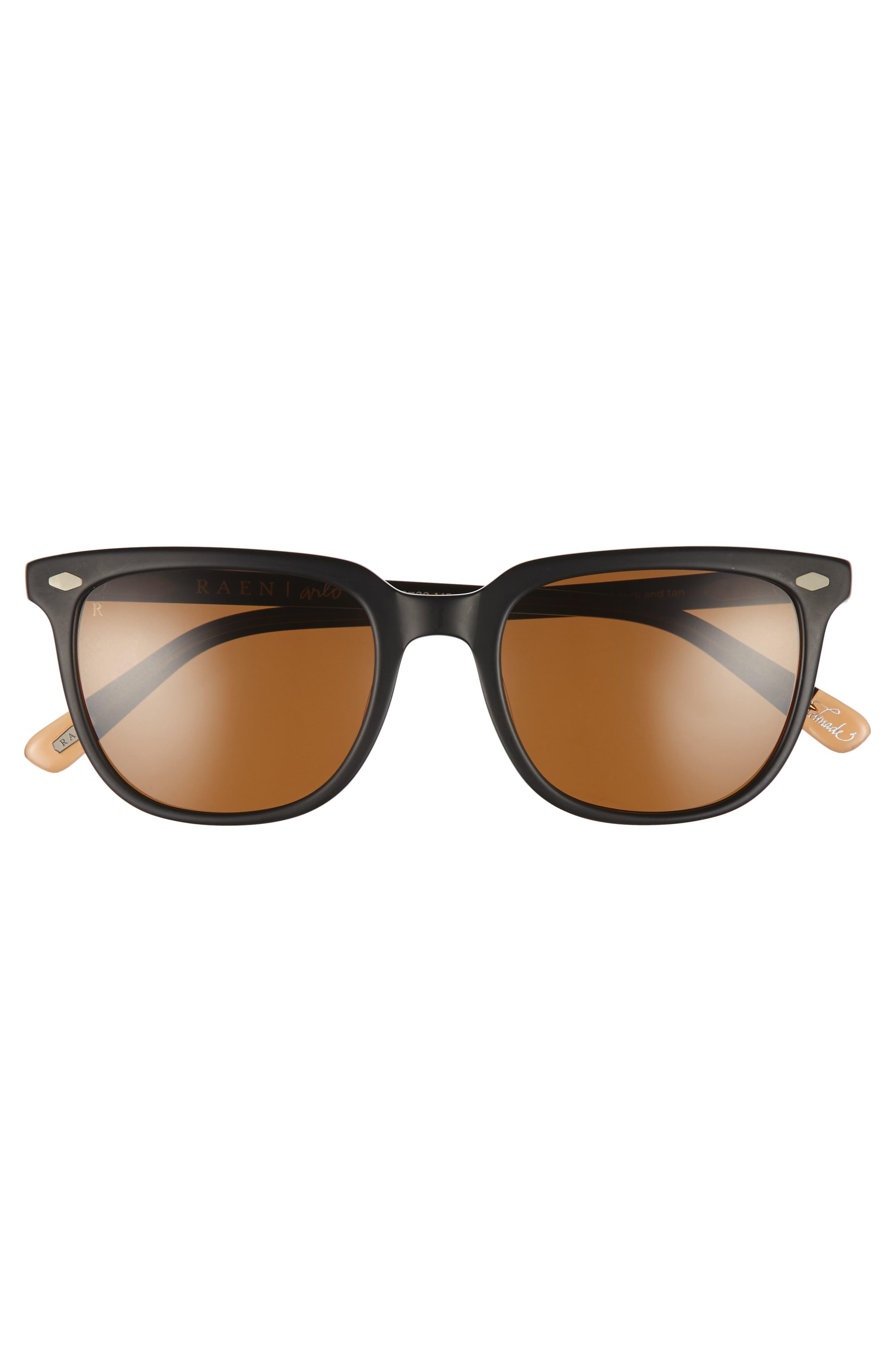 Arlo 53mm Polarized Sunglasses,                             Alternate thumbnail 2, color,                             Black/ Tan/ Brown