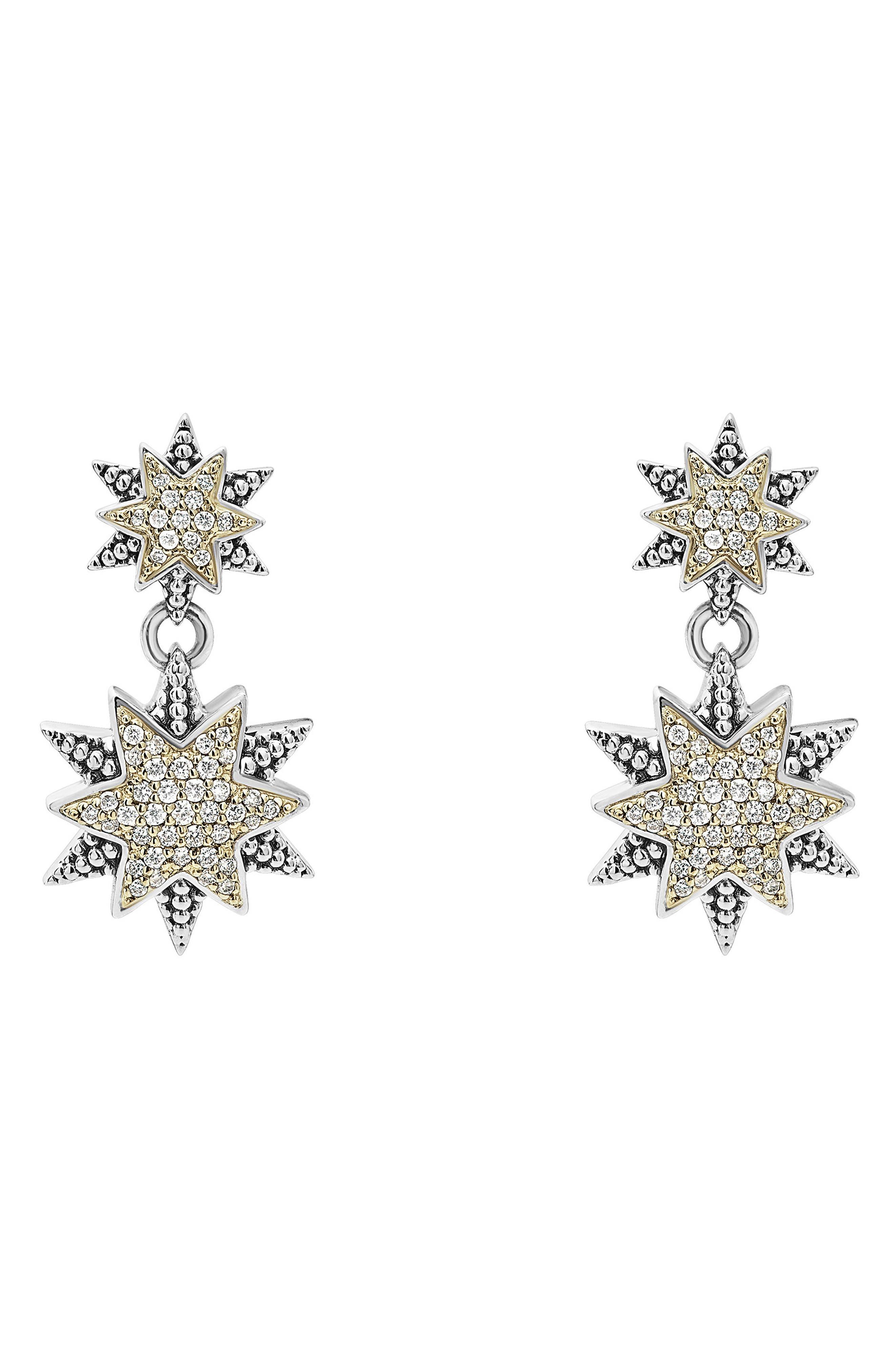 North Star Drop Earrings,                             Main thumbnail 1, color,                             Diamond