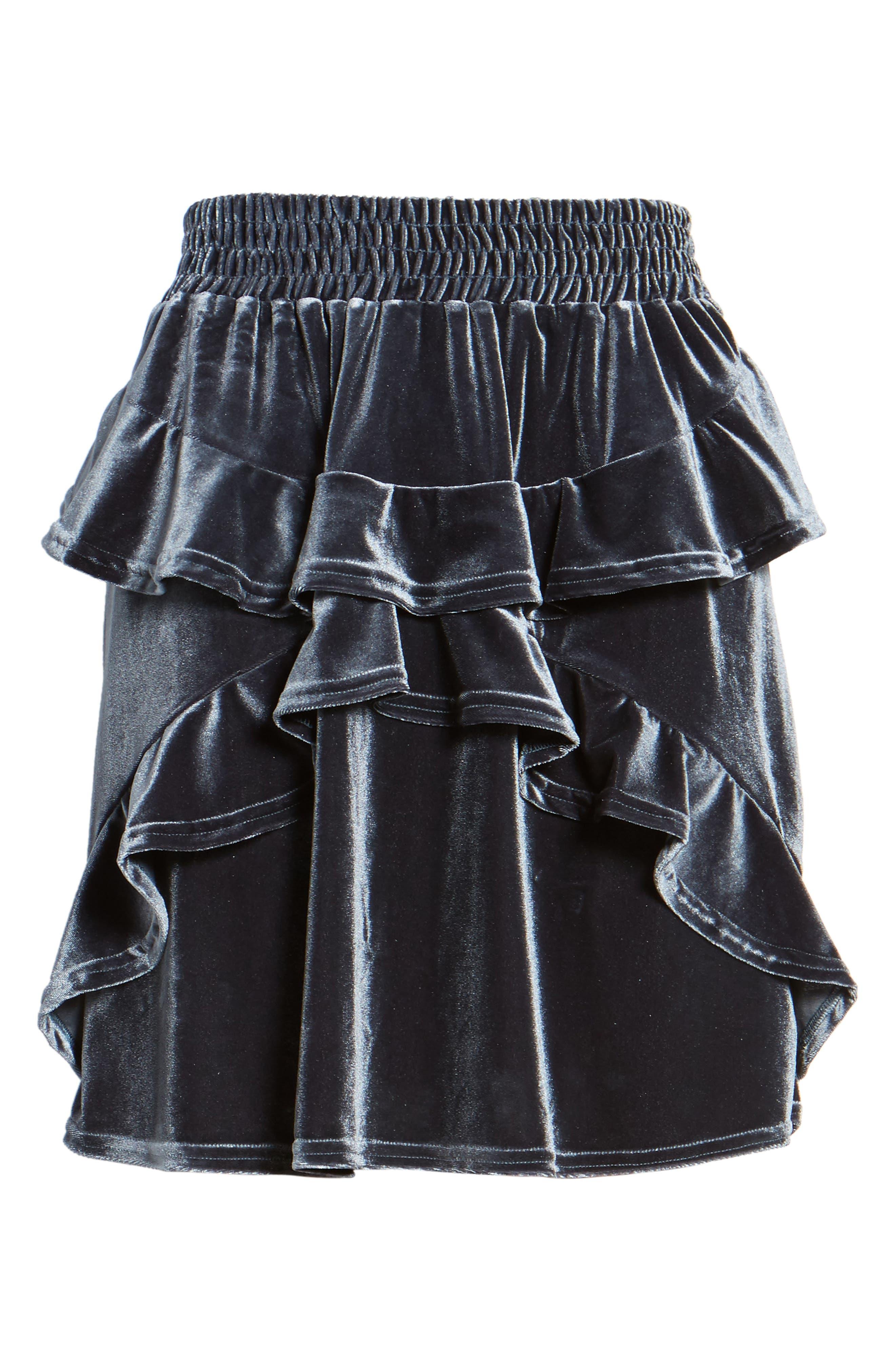 Exhibition Ruffle Velvet Skirt,                             Alternate thumbnail 7, color,                             Slate