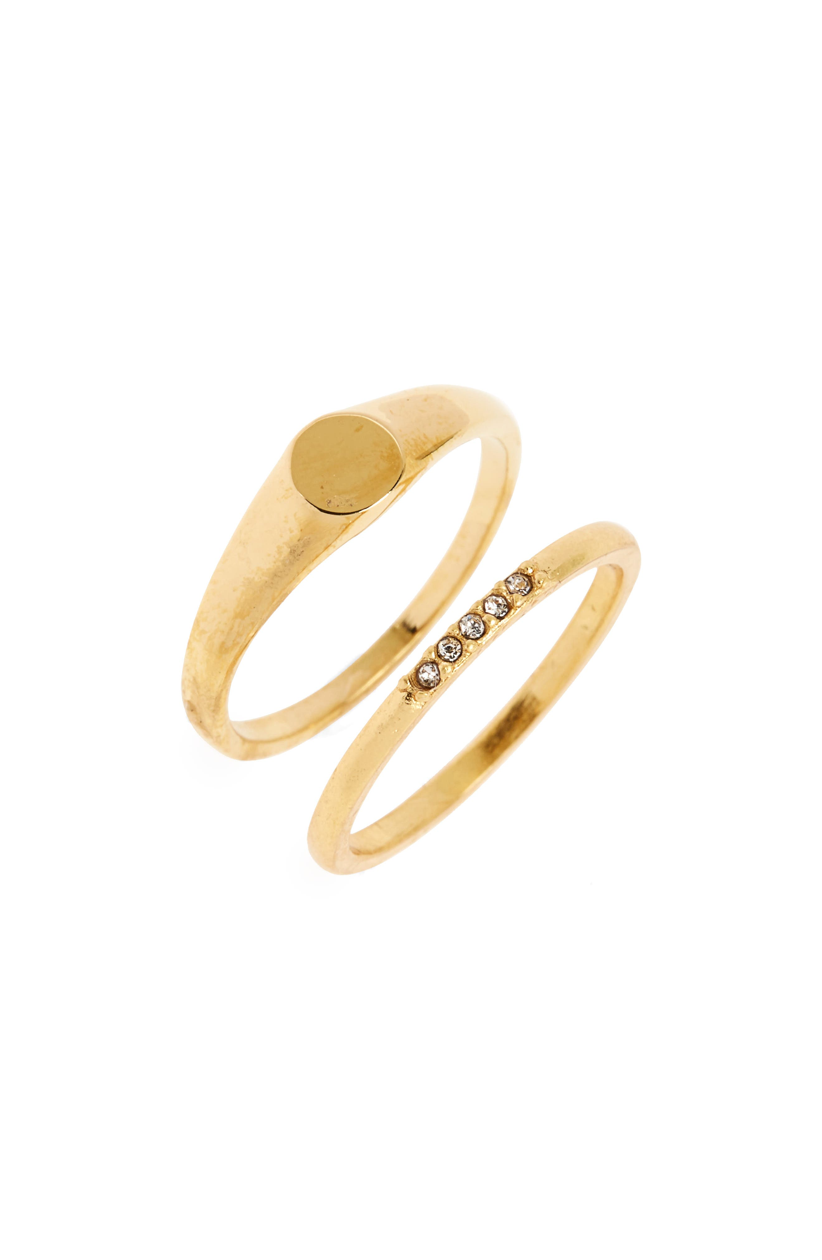 Set of 2 Pinky Rings,                         Main,                         color, Gold Ox