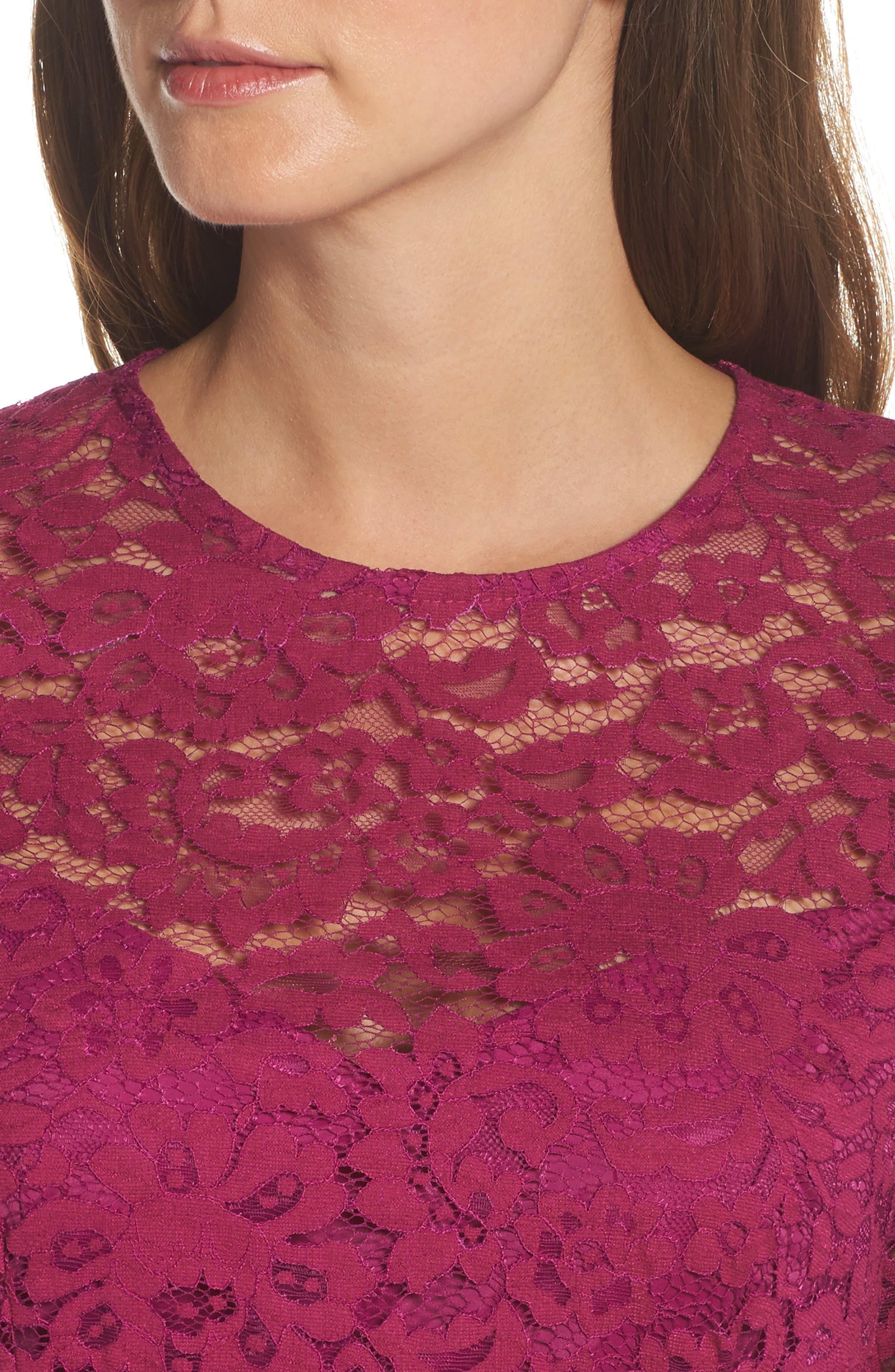 Stanley Lace Fit & Flare Dress,                             Alternate thumbnail 5, color,                             Dewberry