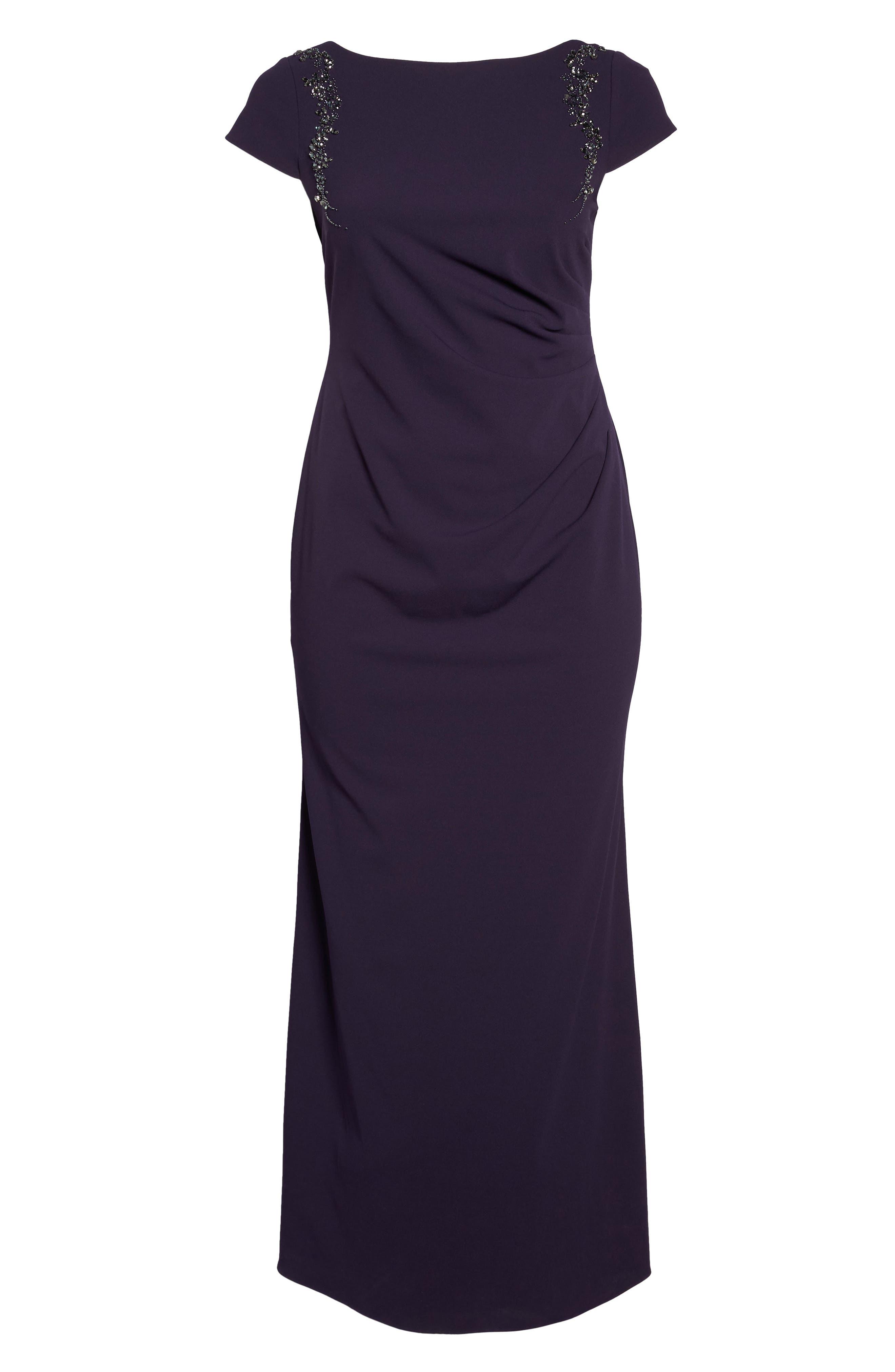 Long Beaded Shoulder Dress,                             Alternate thumbnail 6, color,                             Aubergine