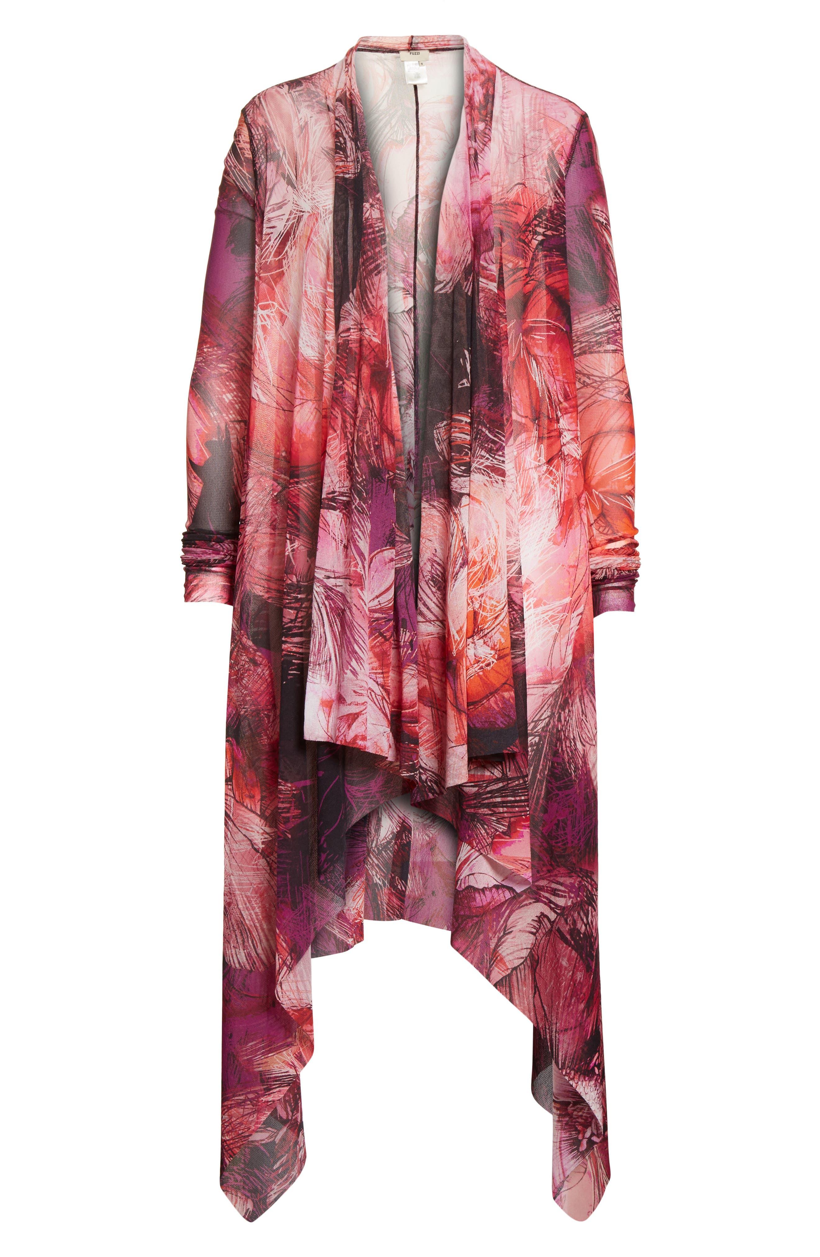 Print Tulle Waterfall Hem Cardigan,                             Alternate thumbnail 7, color,                             Pink/Purple