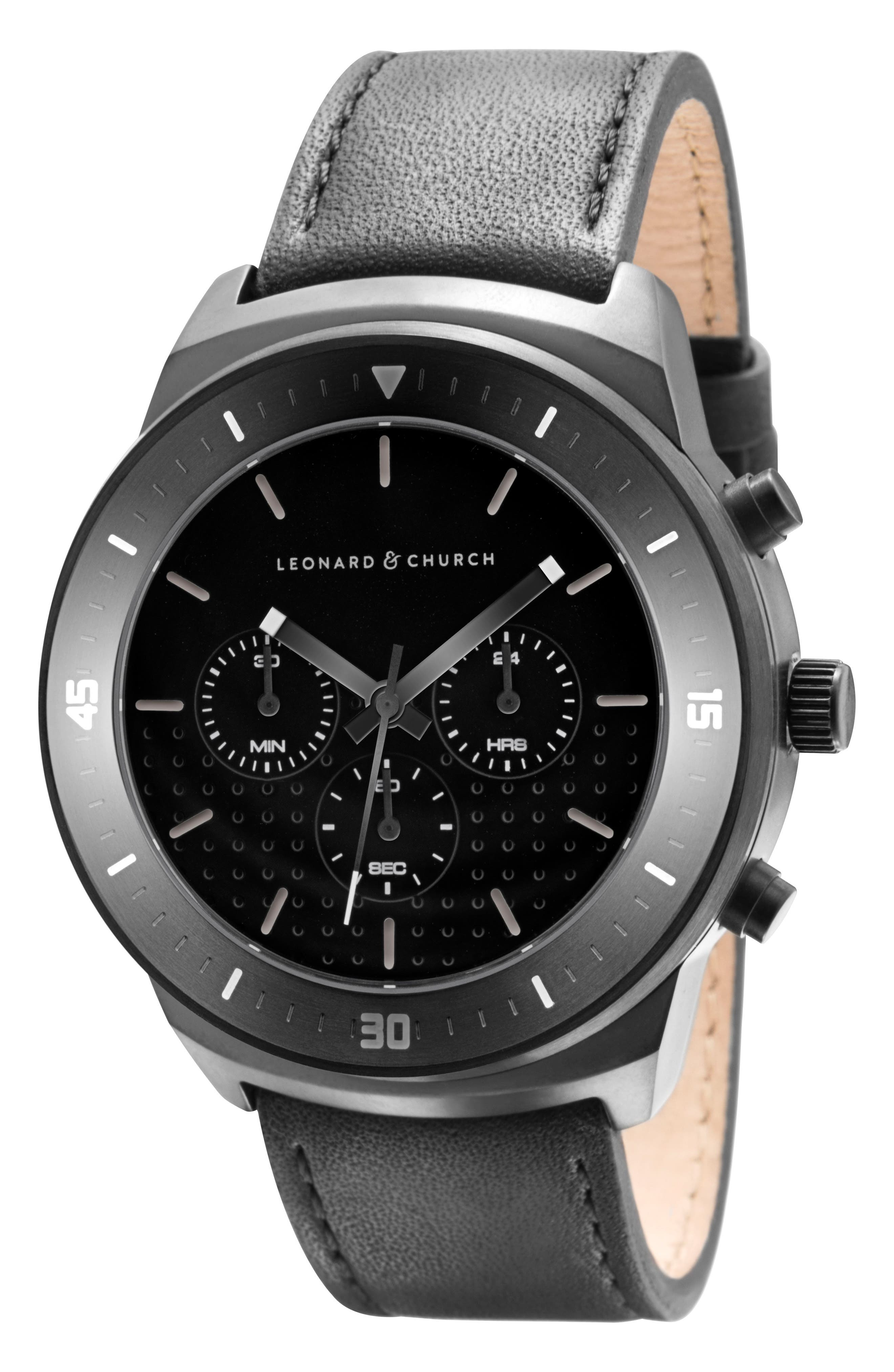 Leonard & Church Irving Chronograph Leather Strap Watch, 44mm,                             Alternate thumbnail 7, color,                             Black
