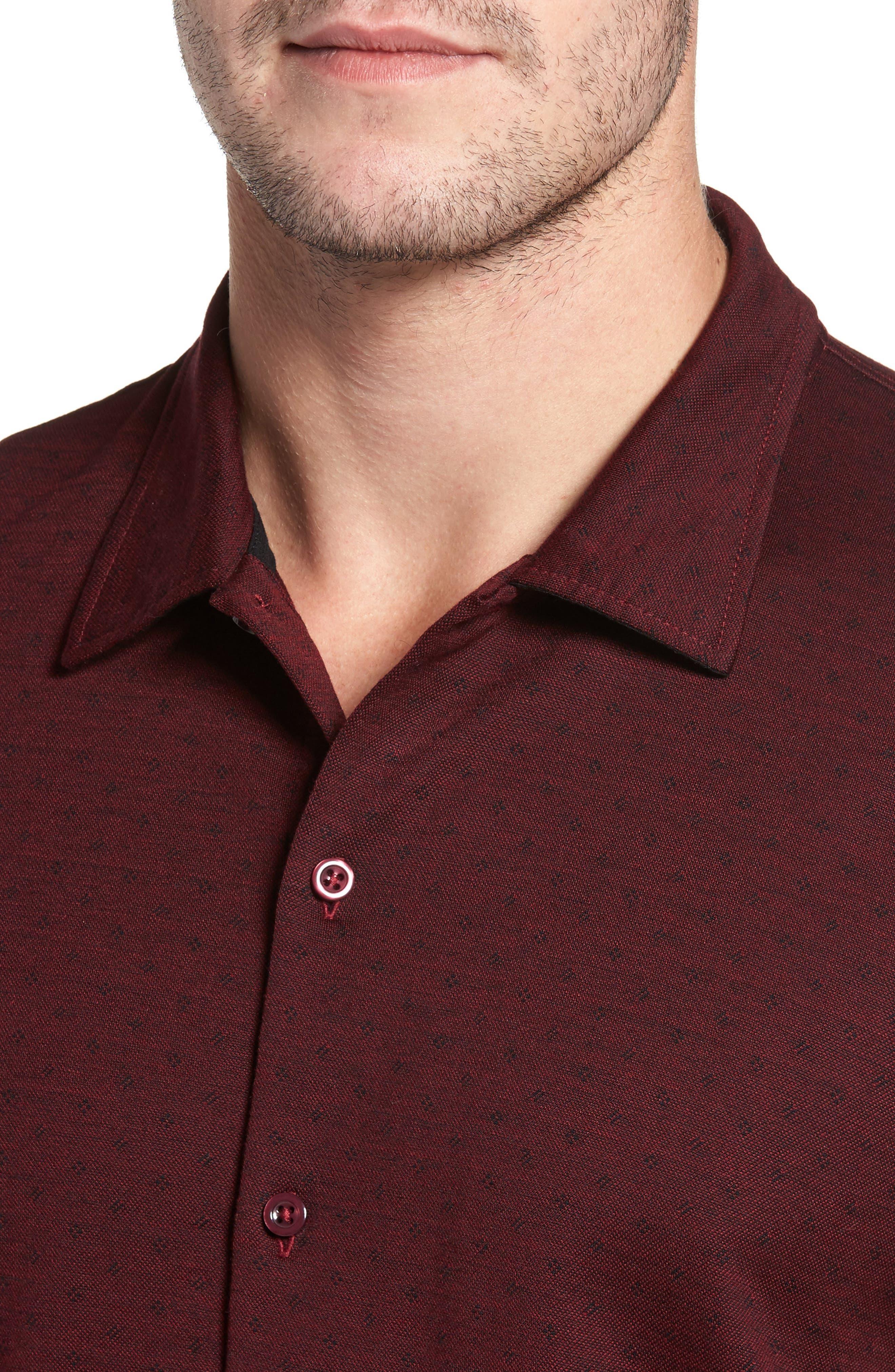 Alternate Image 4  - David Donahue Jacquard Knit Sport Shirt