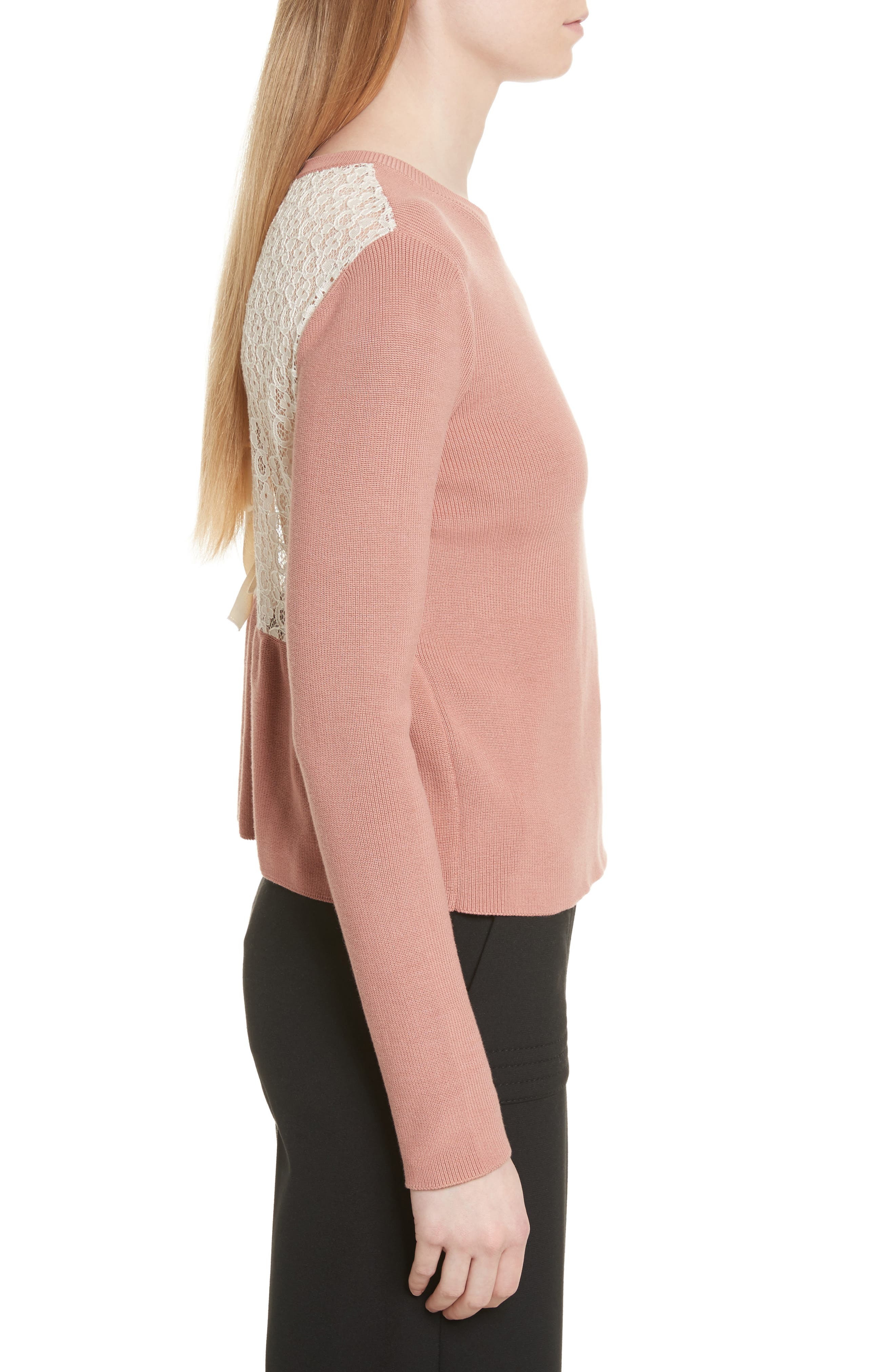 Lace Back Sweater,                             Alternate thumbnail 3, color,                             Pink/ Ivory