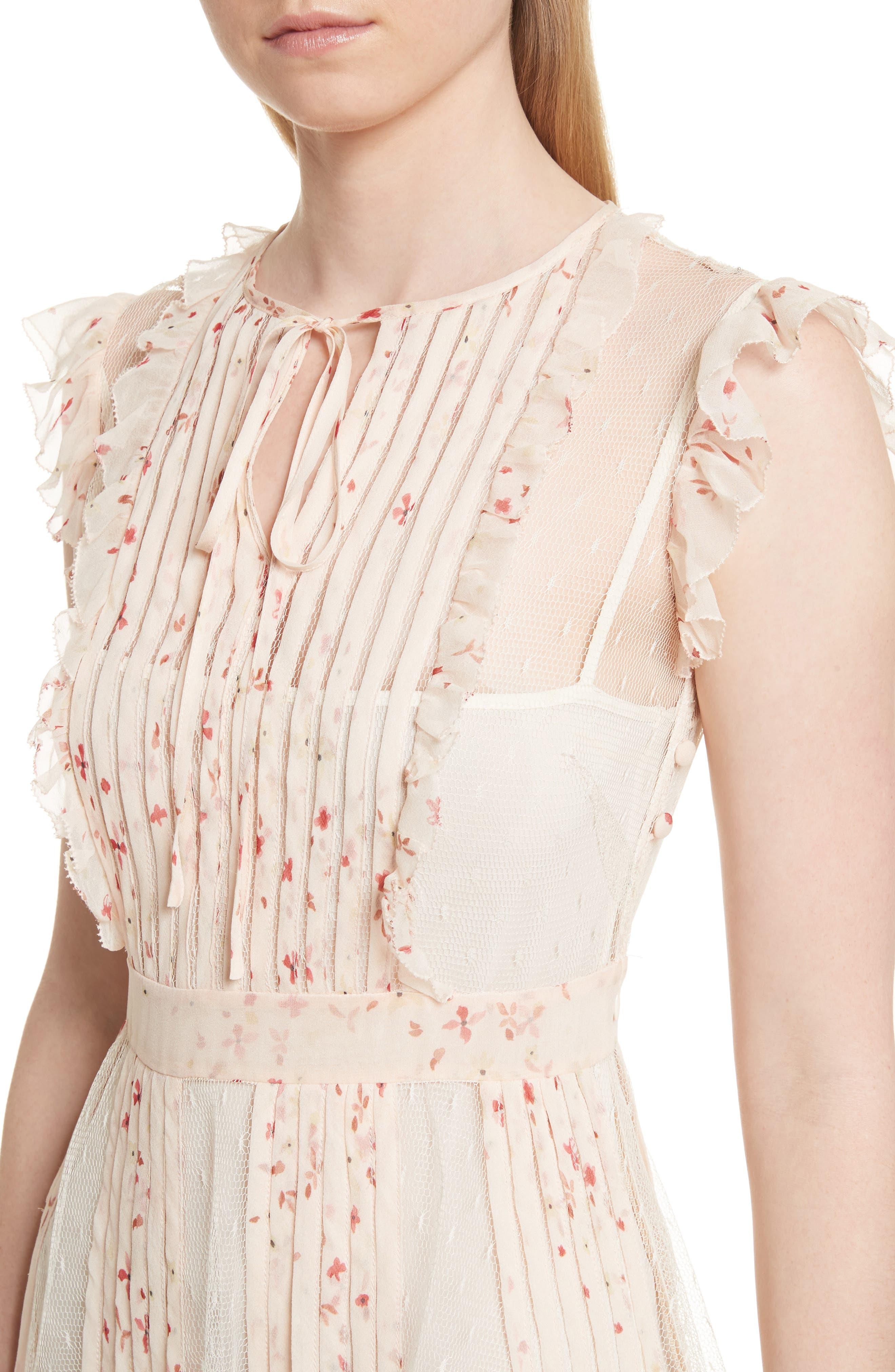 Point dEsprit Ruffle Trim Dress,                             Alternate thumbnail 4, color,                             Ivory