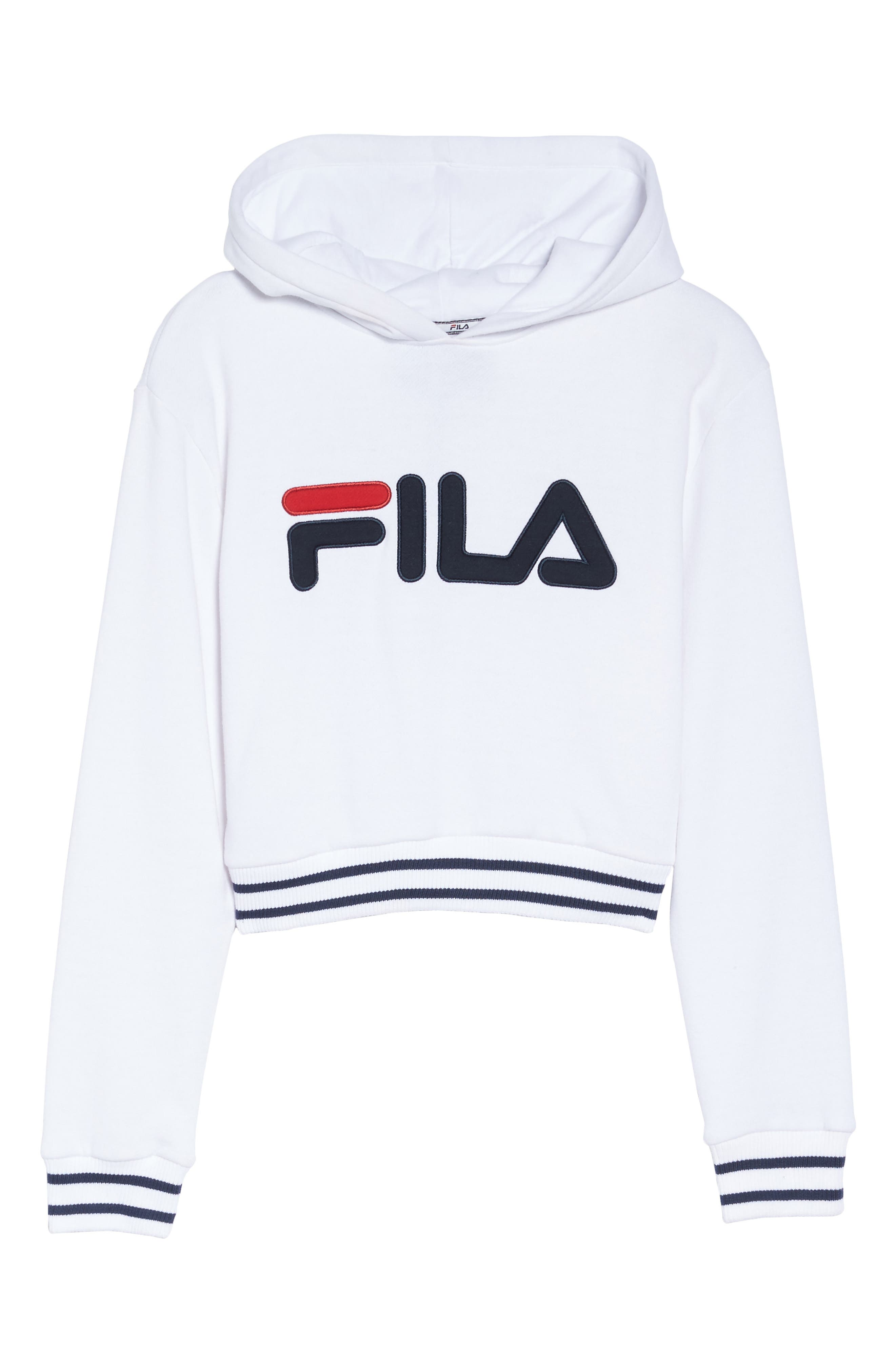 Penelope Crop Hoodie,                             Alternate thumbnail 8, color,                             White/ Navy/ Chinese Red