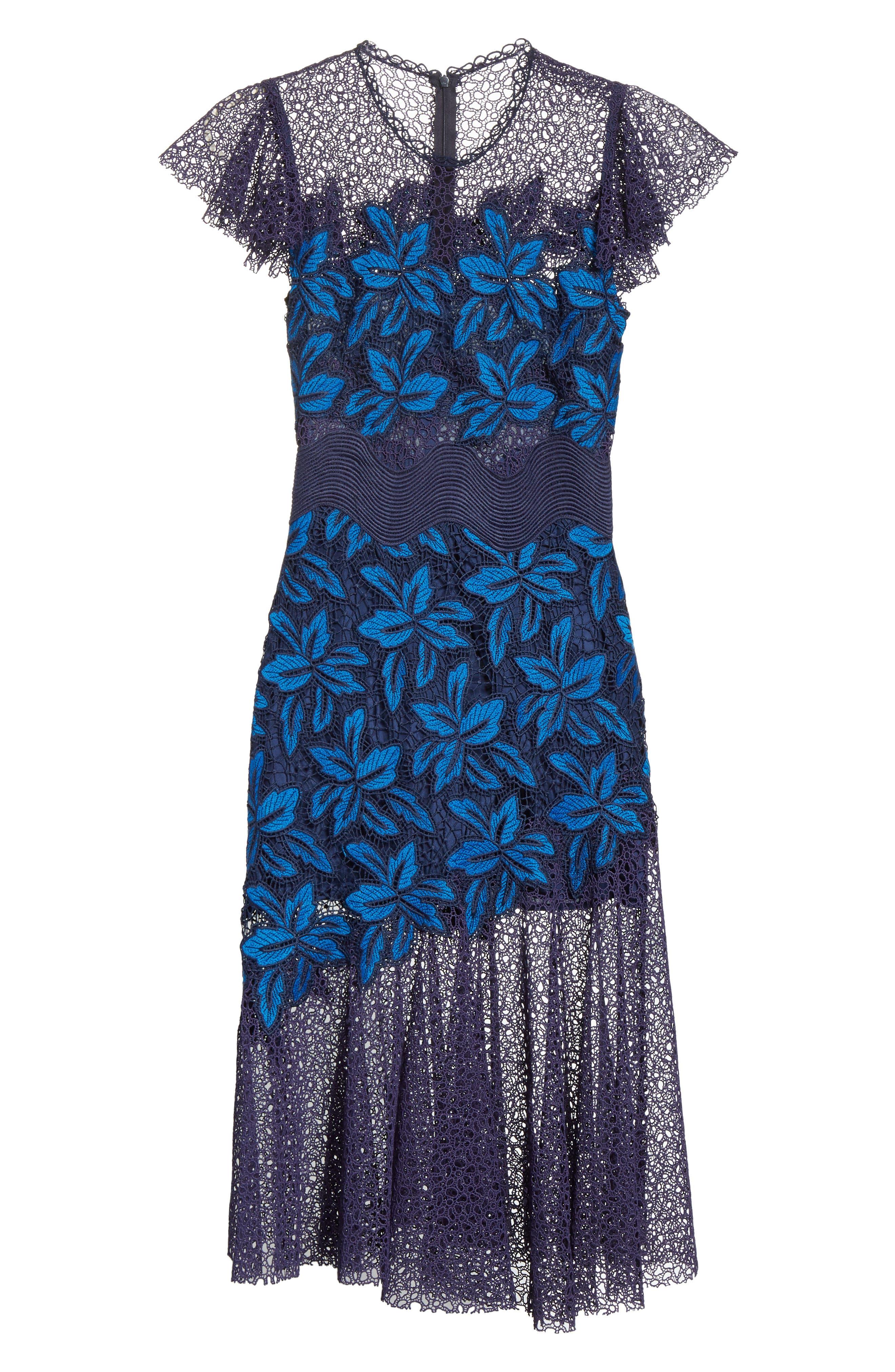 Mosaic Lace Midi Dress,                             Alternate thumbnail 6, color,                             Blue Multi