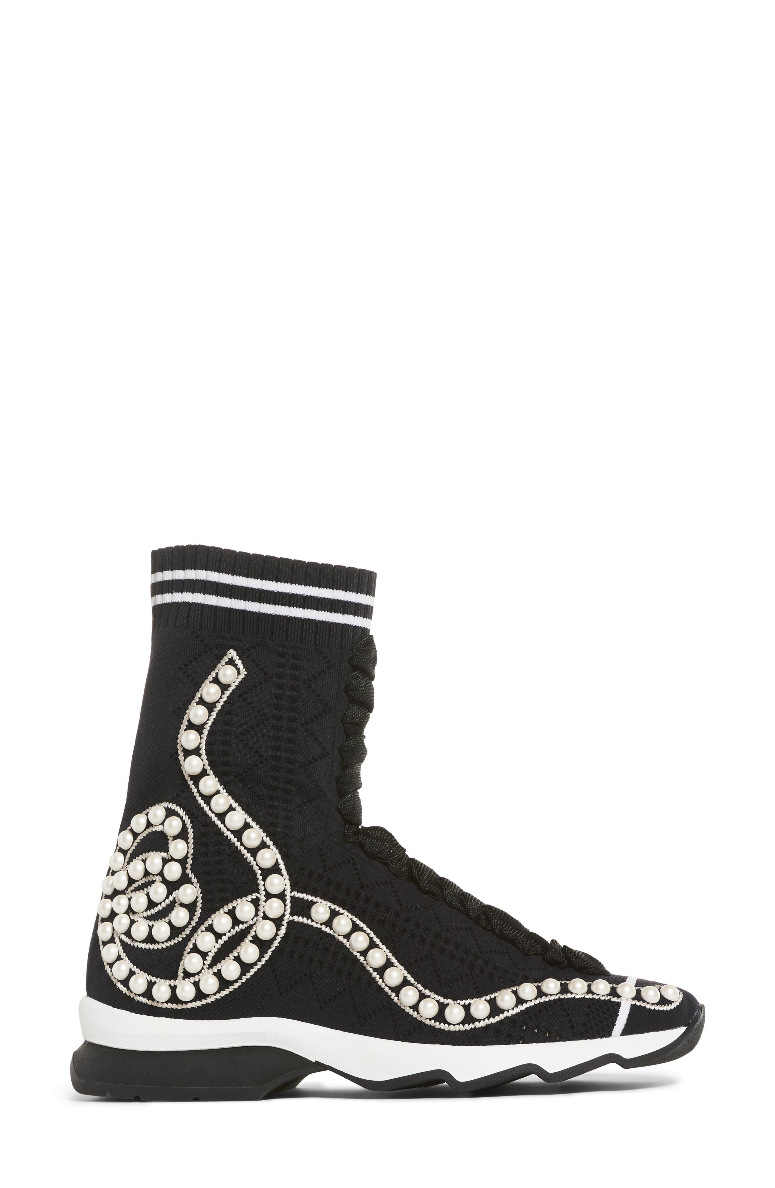 Rockoko Pearland Embellished Sock Sneaker,                             Alternate thumbnail 3, color,                             Black