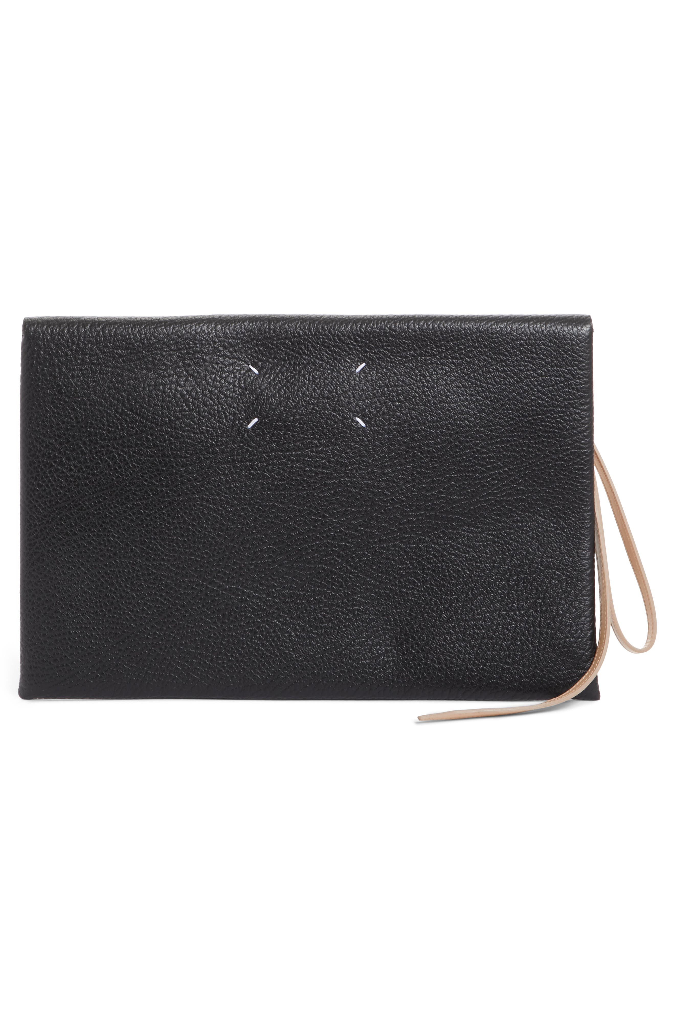 Three-in-One Stacked Leather Pouches,                             Alternate thumbnail 3, color,                             Black Nude Black