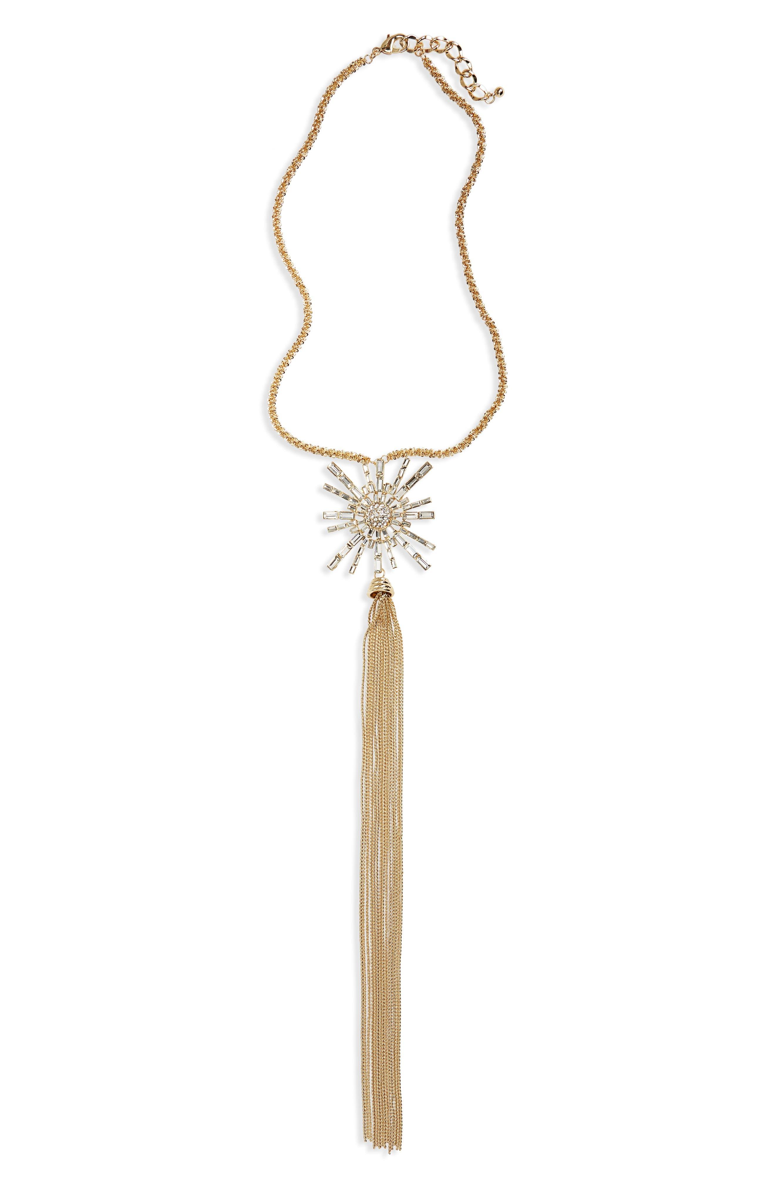 Long Starburst Pendant Necklace,                         Main,                         color, Hematite