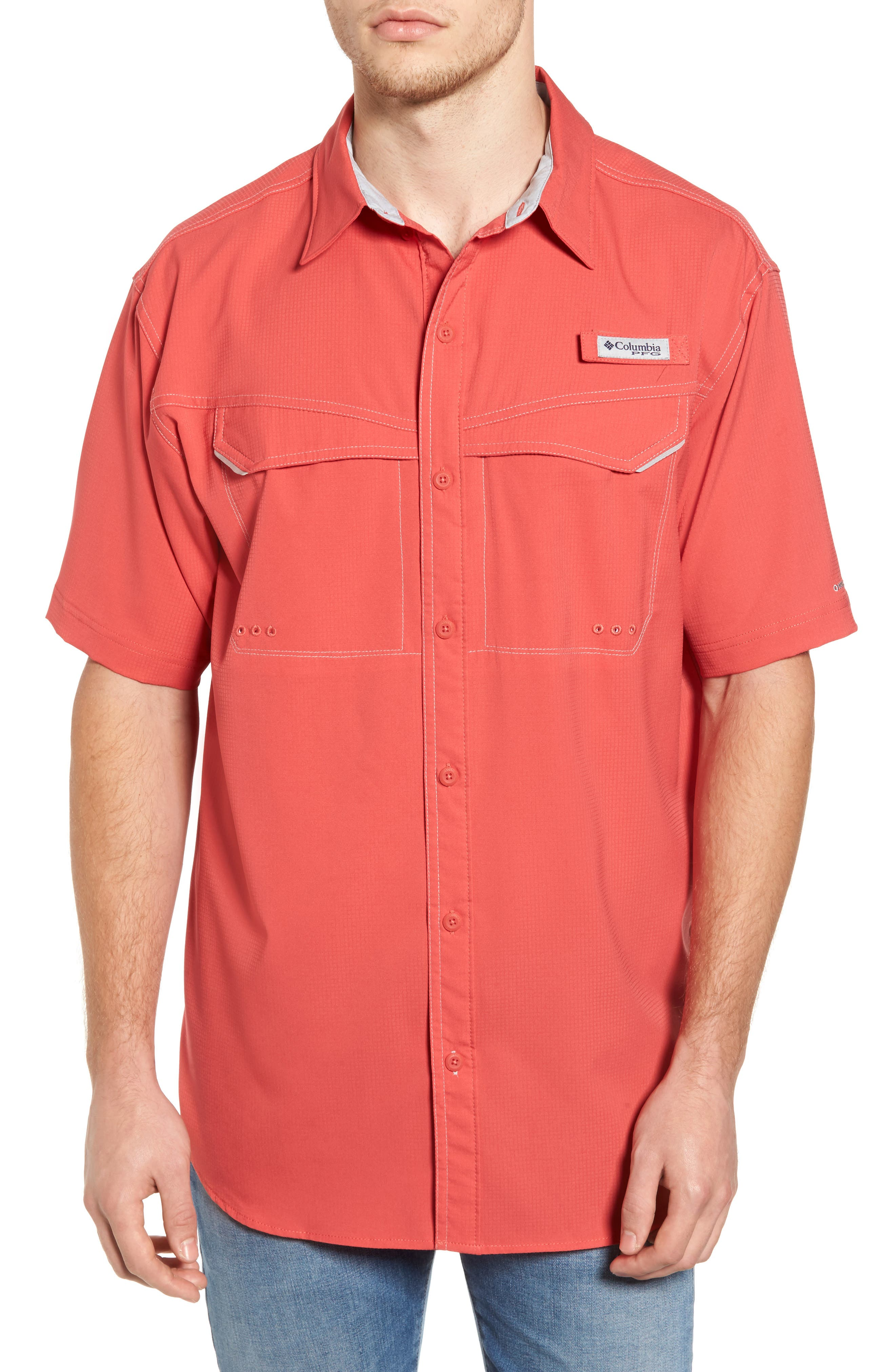 PFG Low Drag Offshore Woven Shirt,                         Main,                         color, Sunset Red
