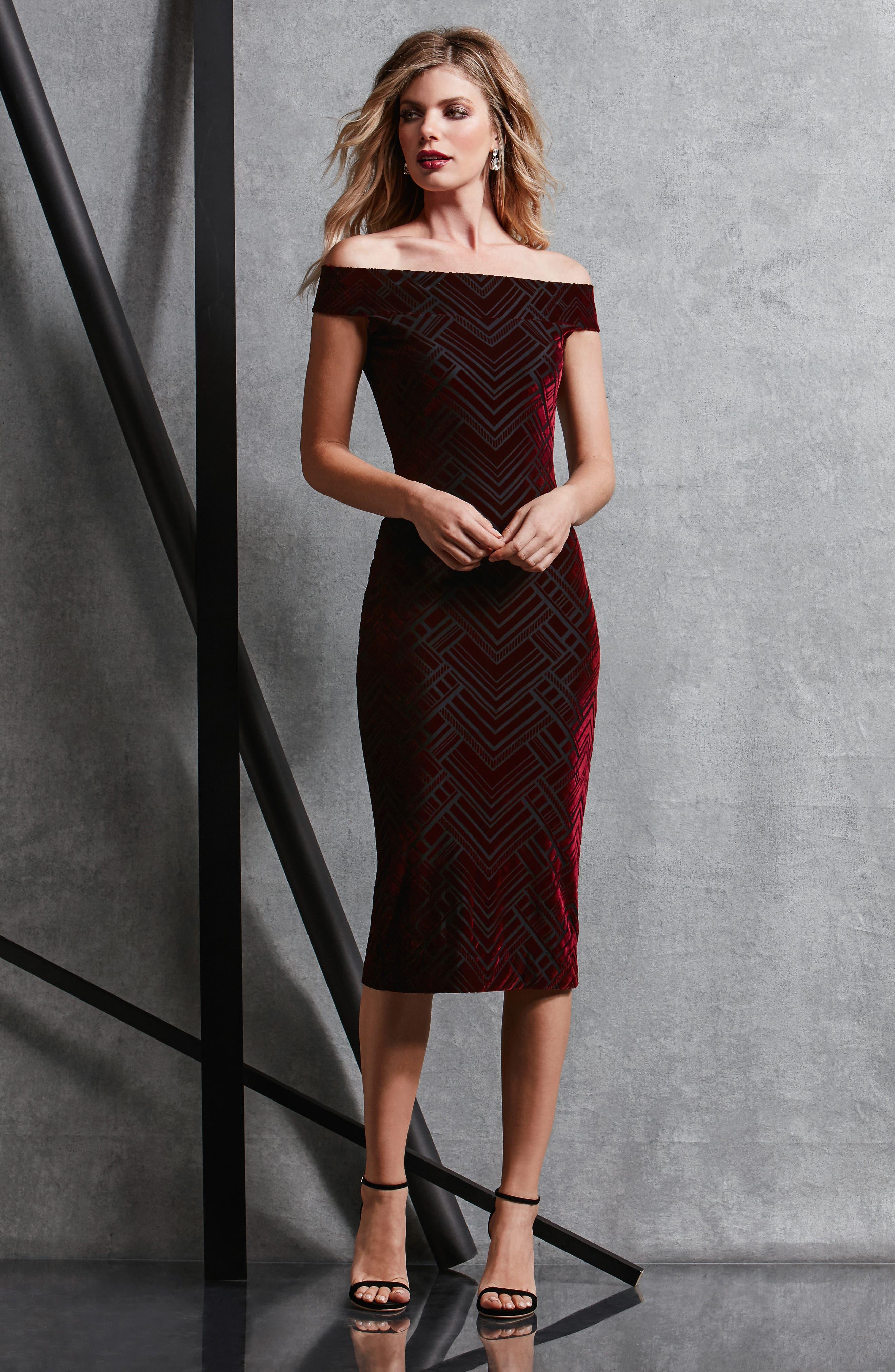 Eden Geo Print Velvet Off the Shoulder Dress,                             Alternate thumbnail 5, color,                             Burgundy/ Black