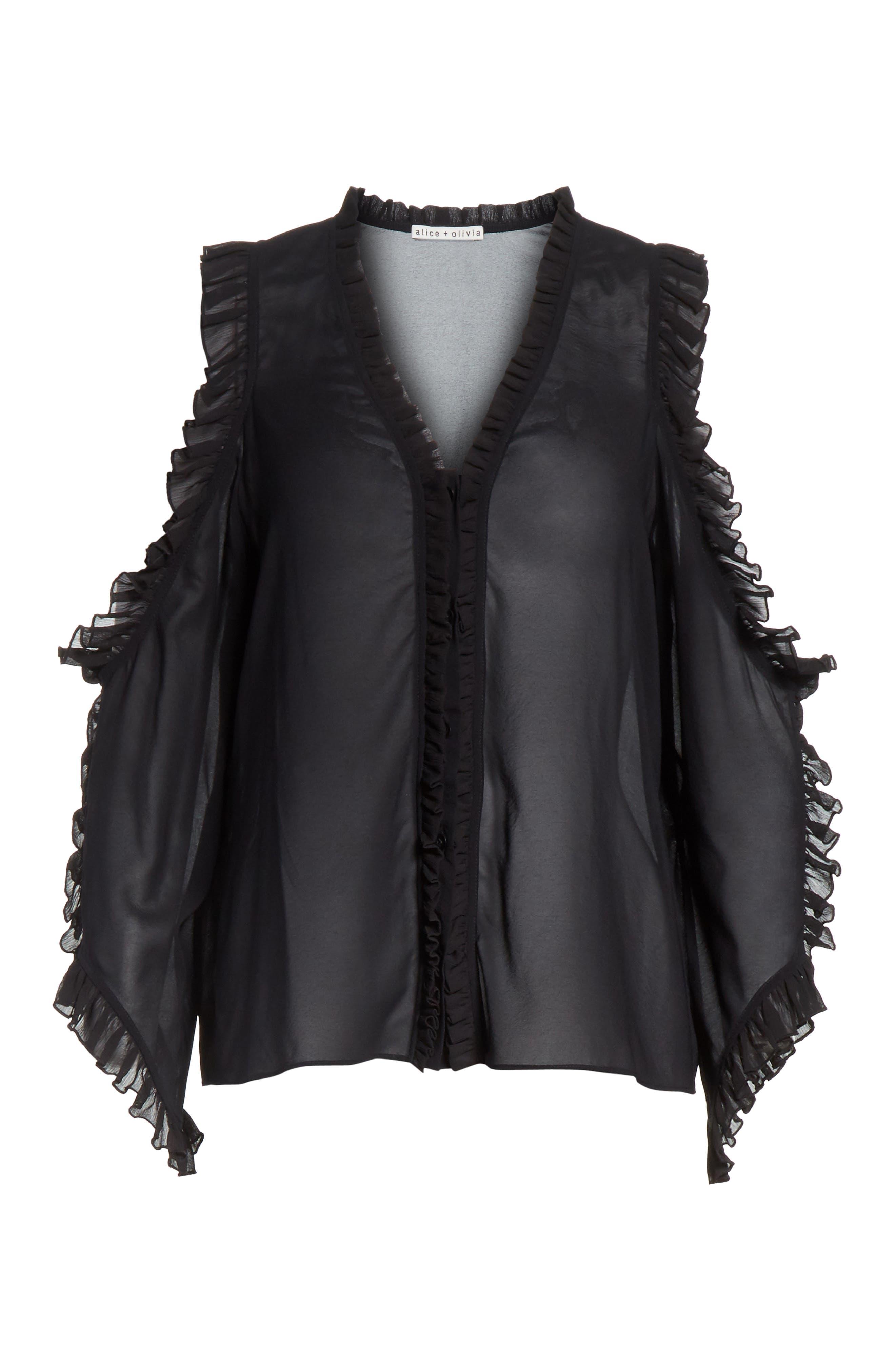 Claudette Cold Shoulder Blouse,                             Alternate thumbnail 6, color,                             Black