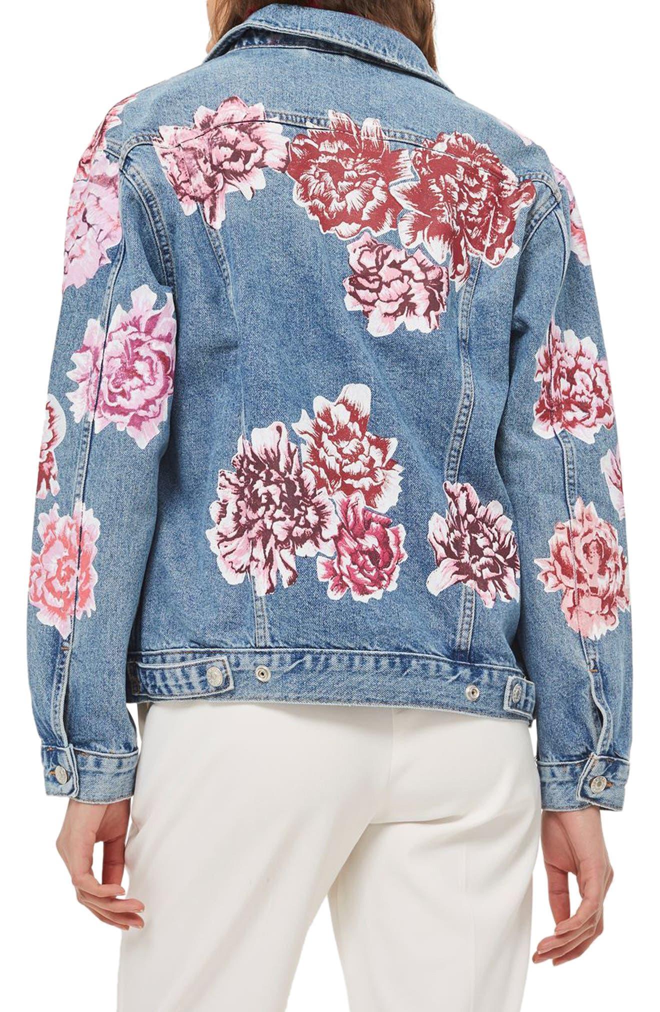 Peony Painted Denim Jacket,                             Alternate thumbnail 2, color,                             Mid Denim Multi