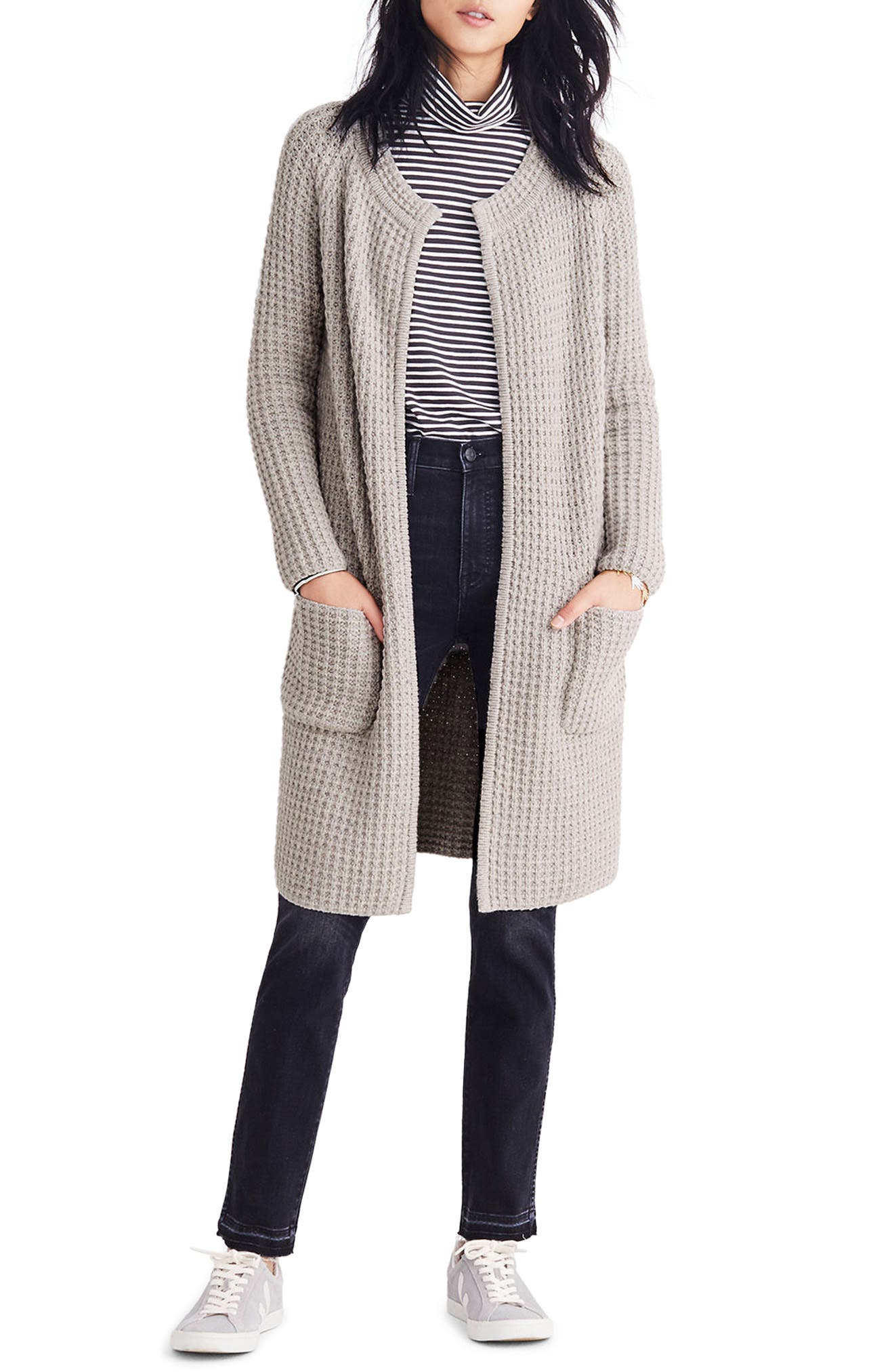 Waffle Stitch Sweater Jacket,                             Main thumbnail 1, color,                             Silver Cloud