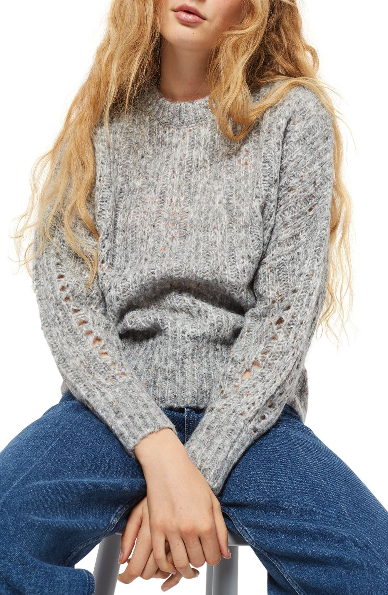 Soft Nep Sweater,                             Main thumbnail 1, color,                             Grey Marl Multi