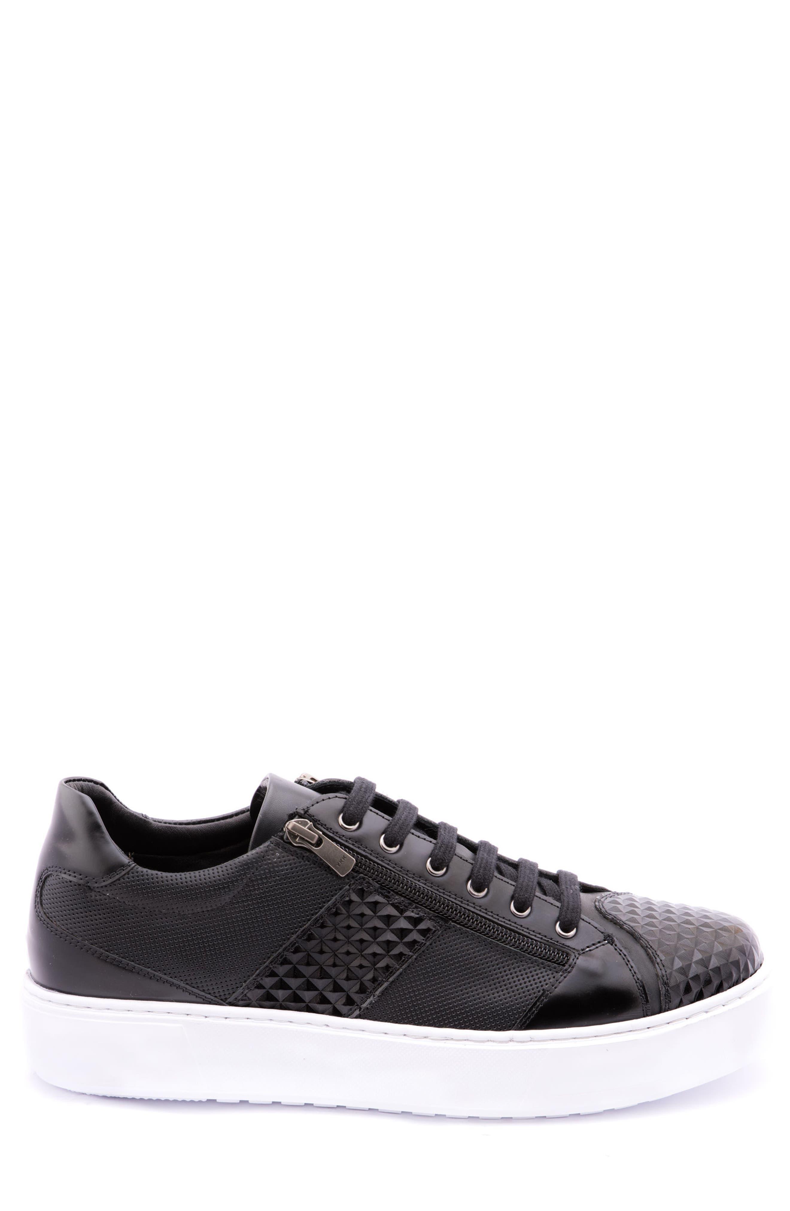 Justin Perforated Sneaker,                             Alternate thumbnail 3, color,                             Black