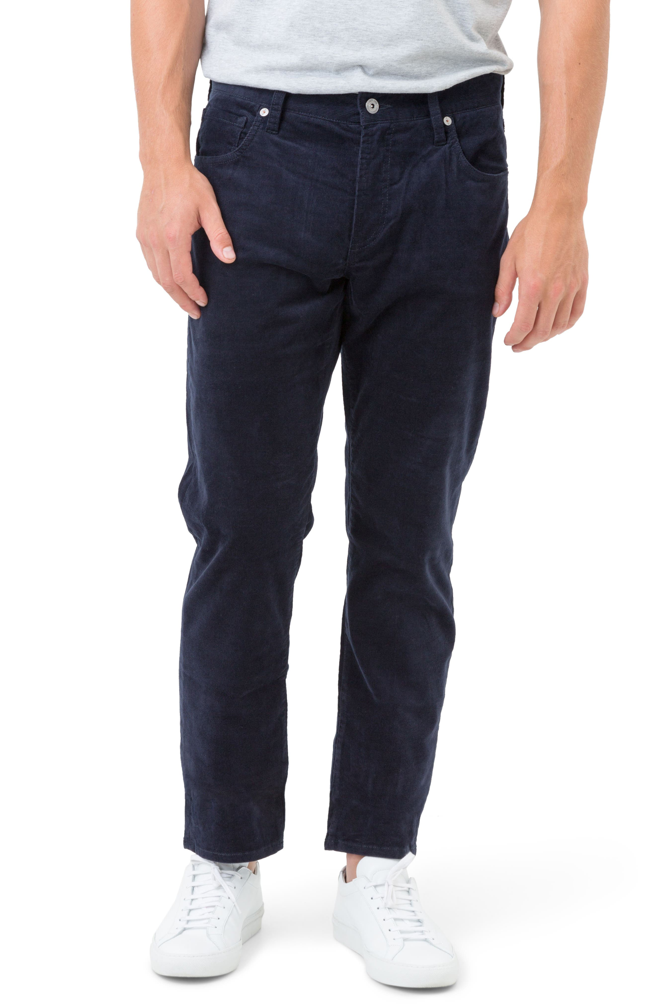 Courtland Slim Fit Corduroy Pants,                             Main thumbnail 1, color,                             Navy