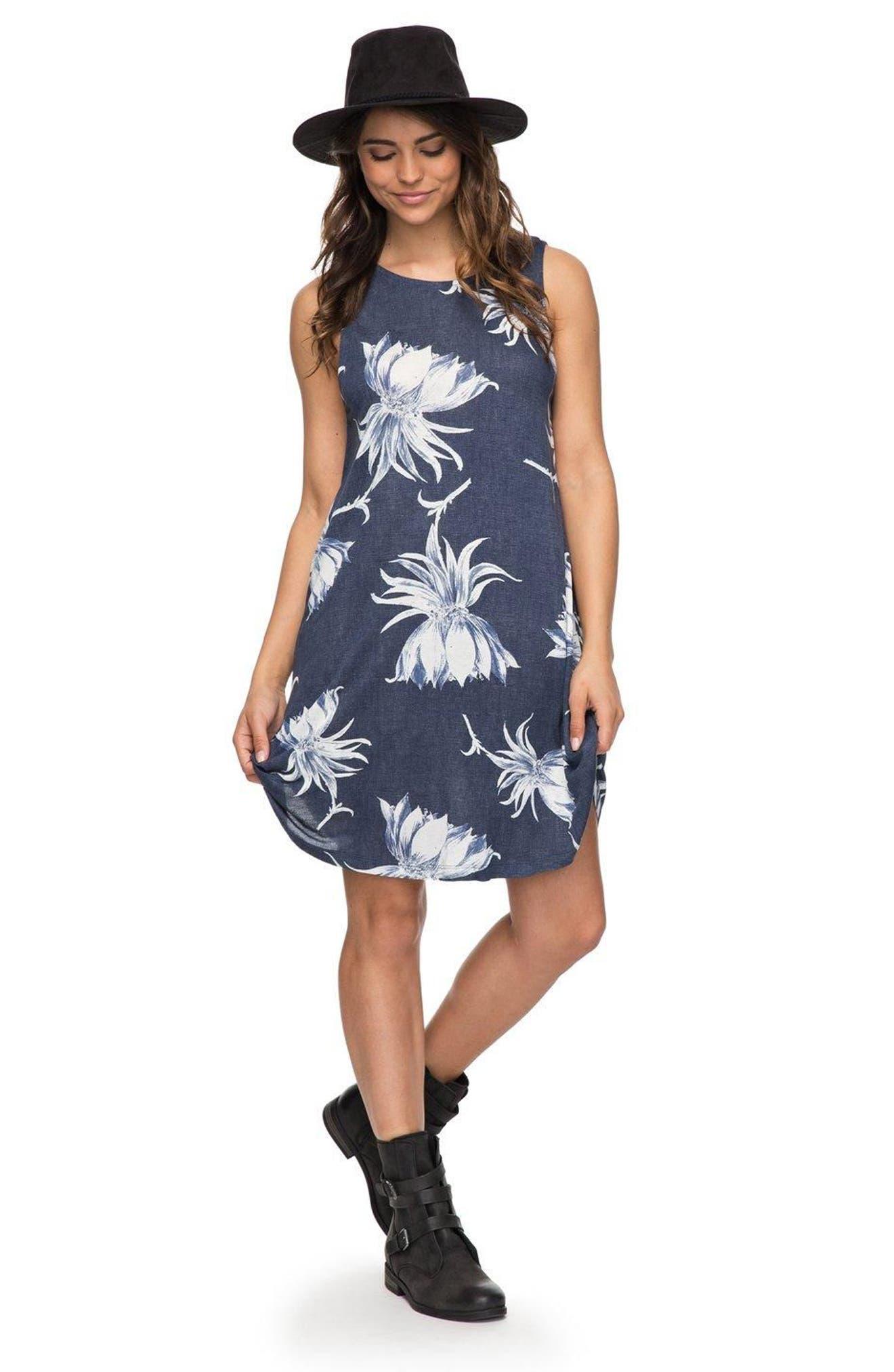 Sugar Space Shift Dress,                             Alternate thumbnail 4, color,                             Dress Blue Cadaques Flower