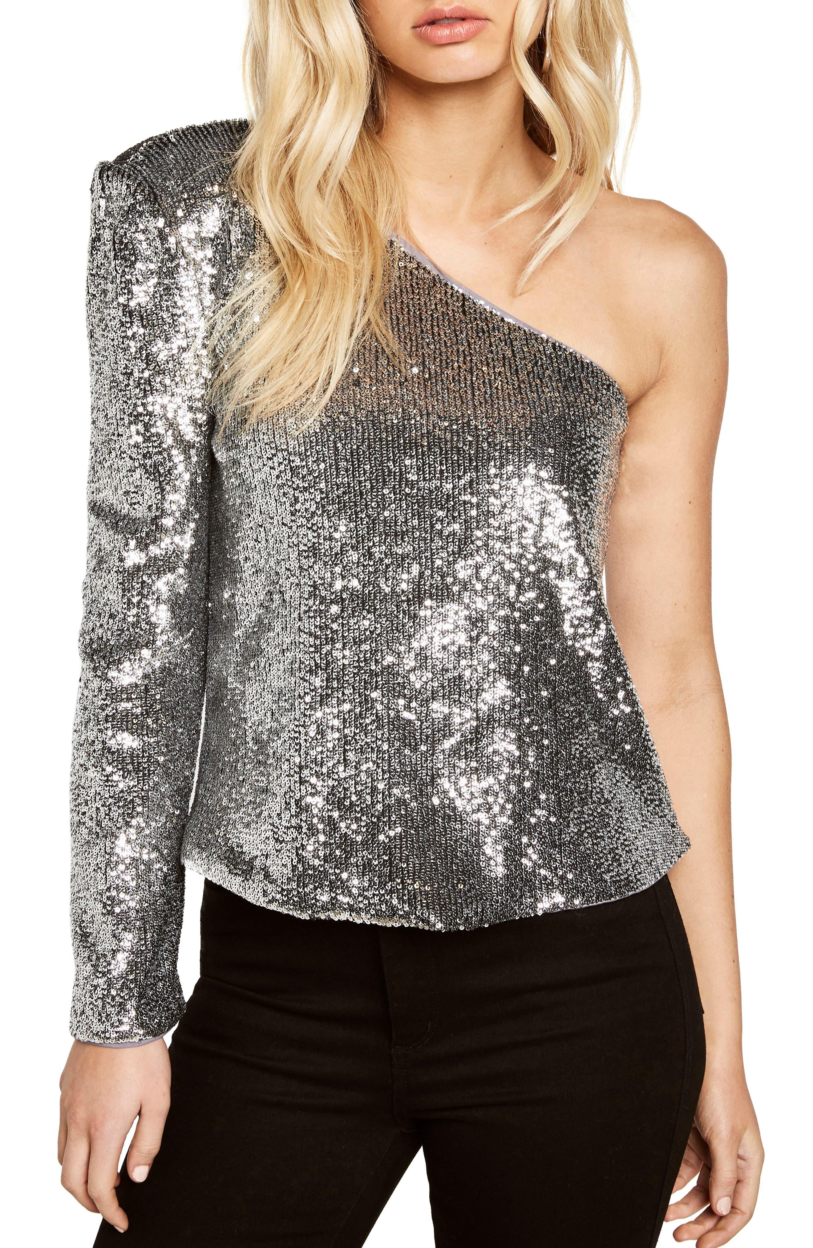 Sequin One-Shoulder Top,                         Main,                         color, Silver