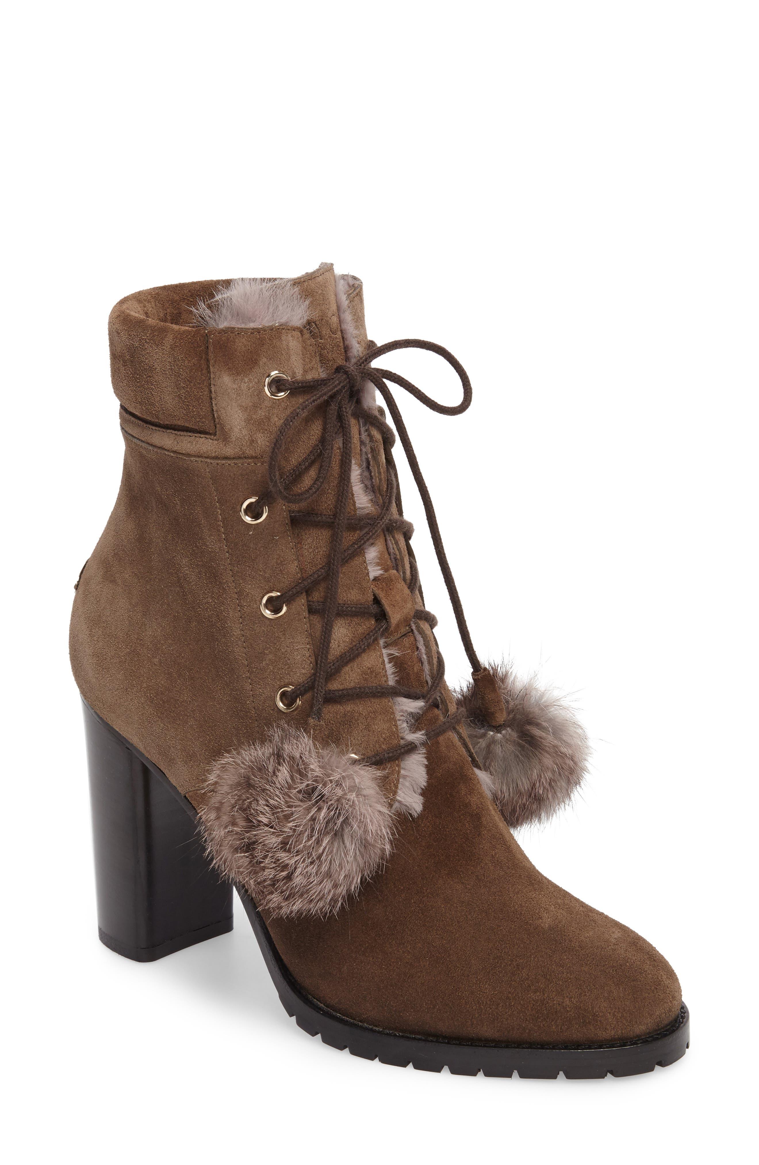 Elba Genuine Rabbit Fur Boot,                             Main thumbnail 1, color,                             Mink