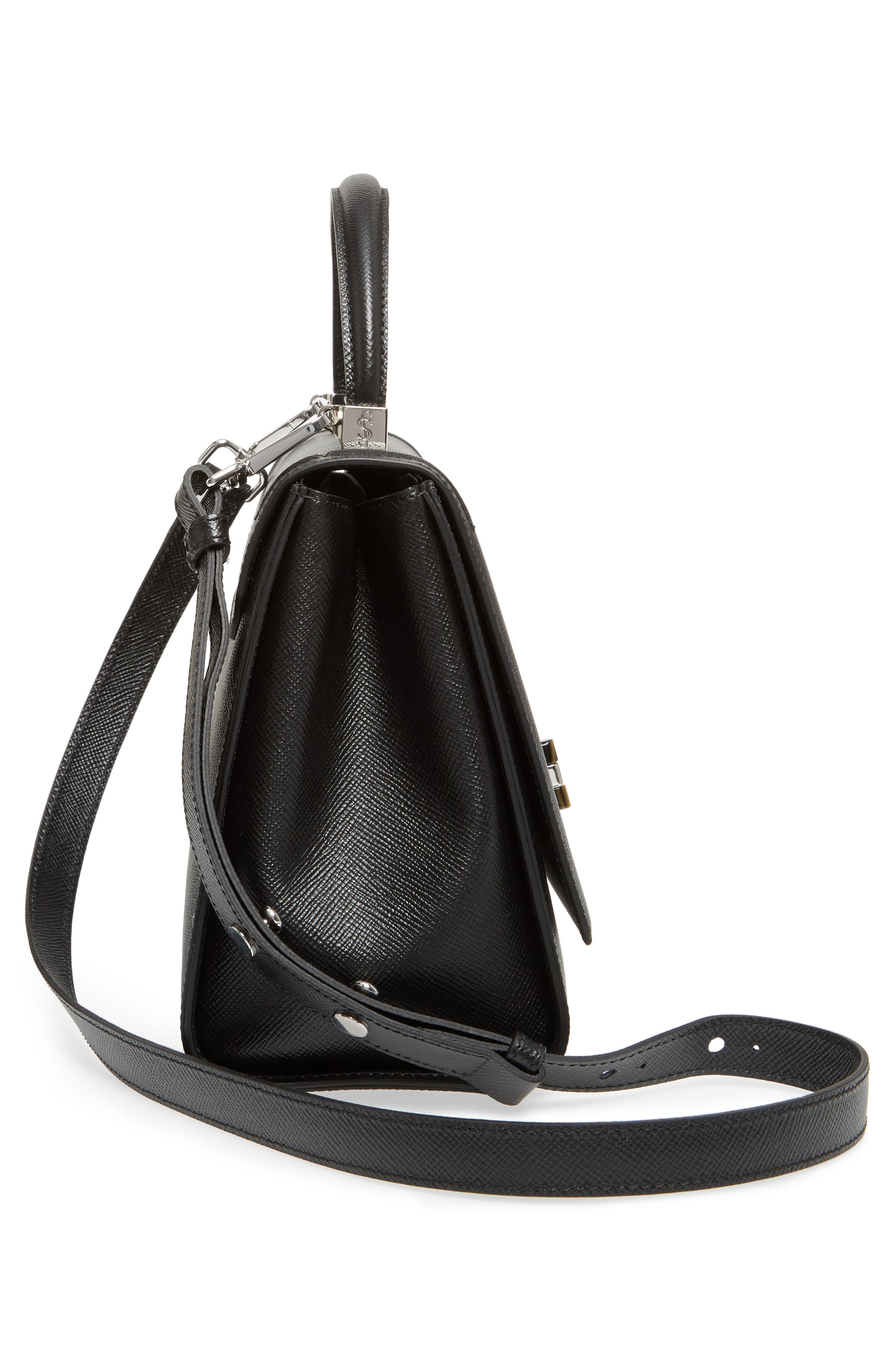 Elena Leather Top Handle Satchel,                             Alternate thumbnail 5, color,                             Black
