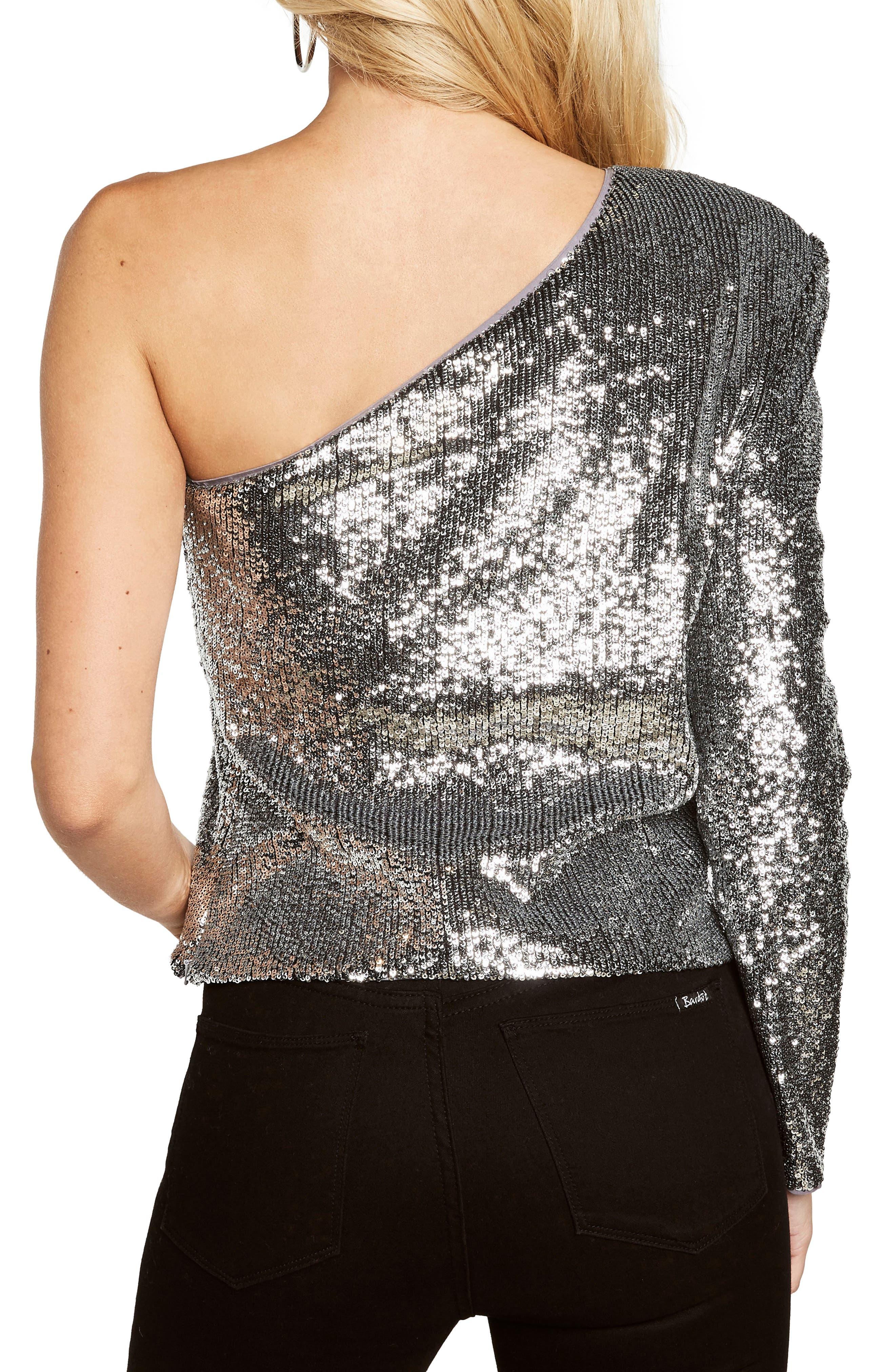 Sequin One-Shoulder Top,                             Alternate thumbnail 2, color,                             Silver