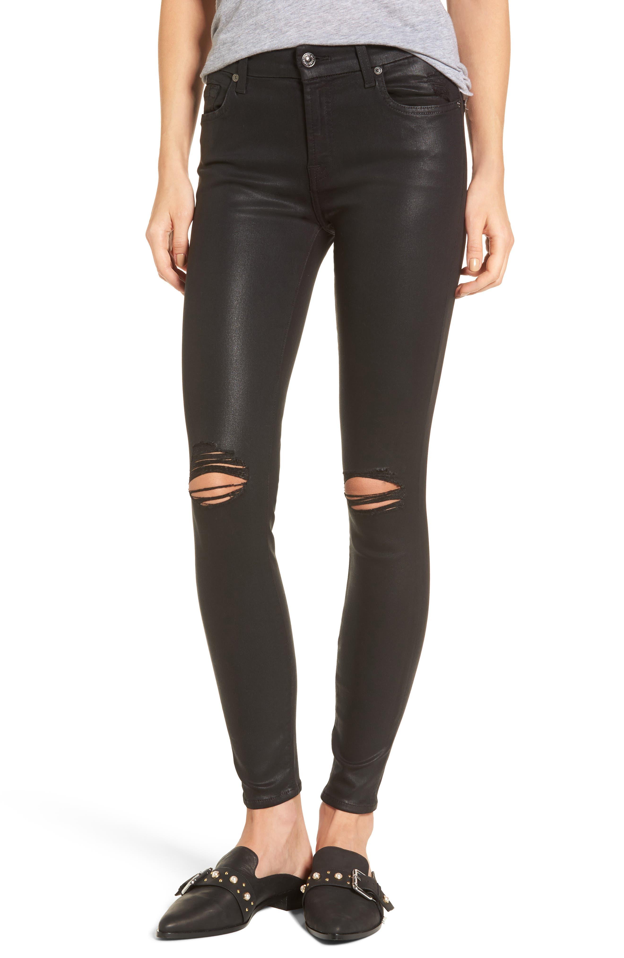 Coated Ankle Skinny Jeans,                         Main,                         color, Coated Black Destroy