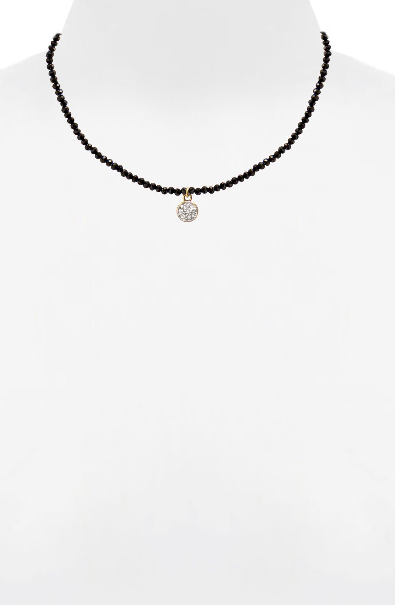 Jane Basch Diamond Circle Pendant Necklace,                             Alternate thumbnail 2, color,                             Black Onyx