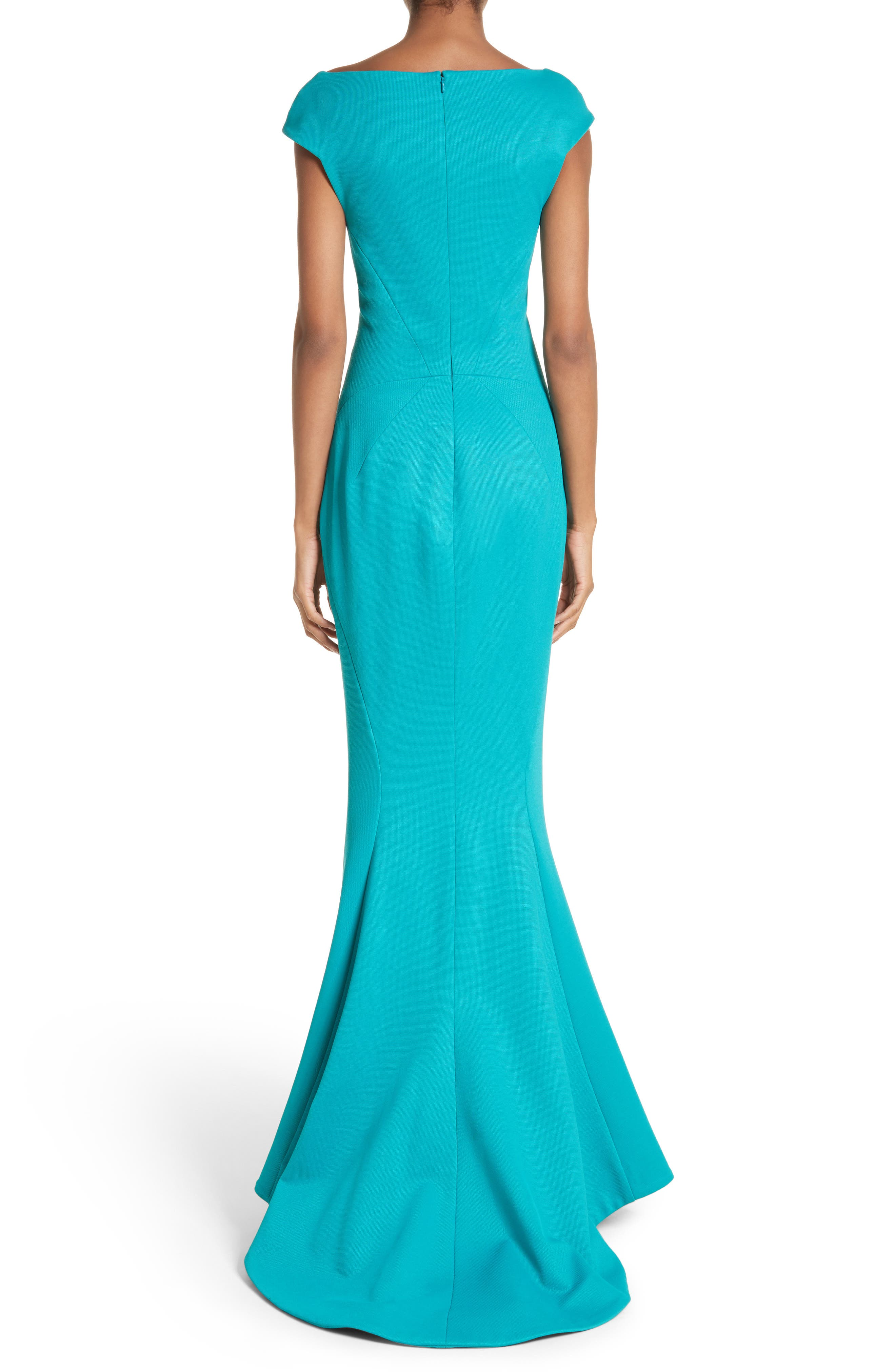 Cap Sleeve Bondage Jersey Mermaid Gown,                             Alternate thumbnail 2, color,                             Turquoise