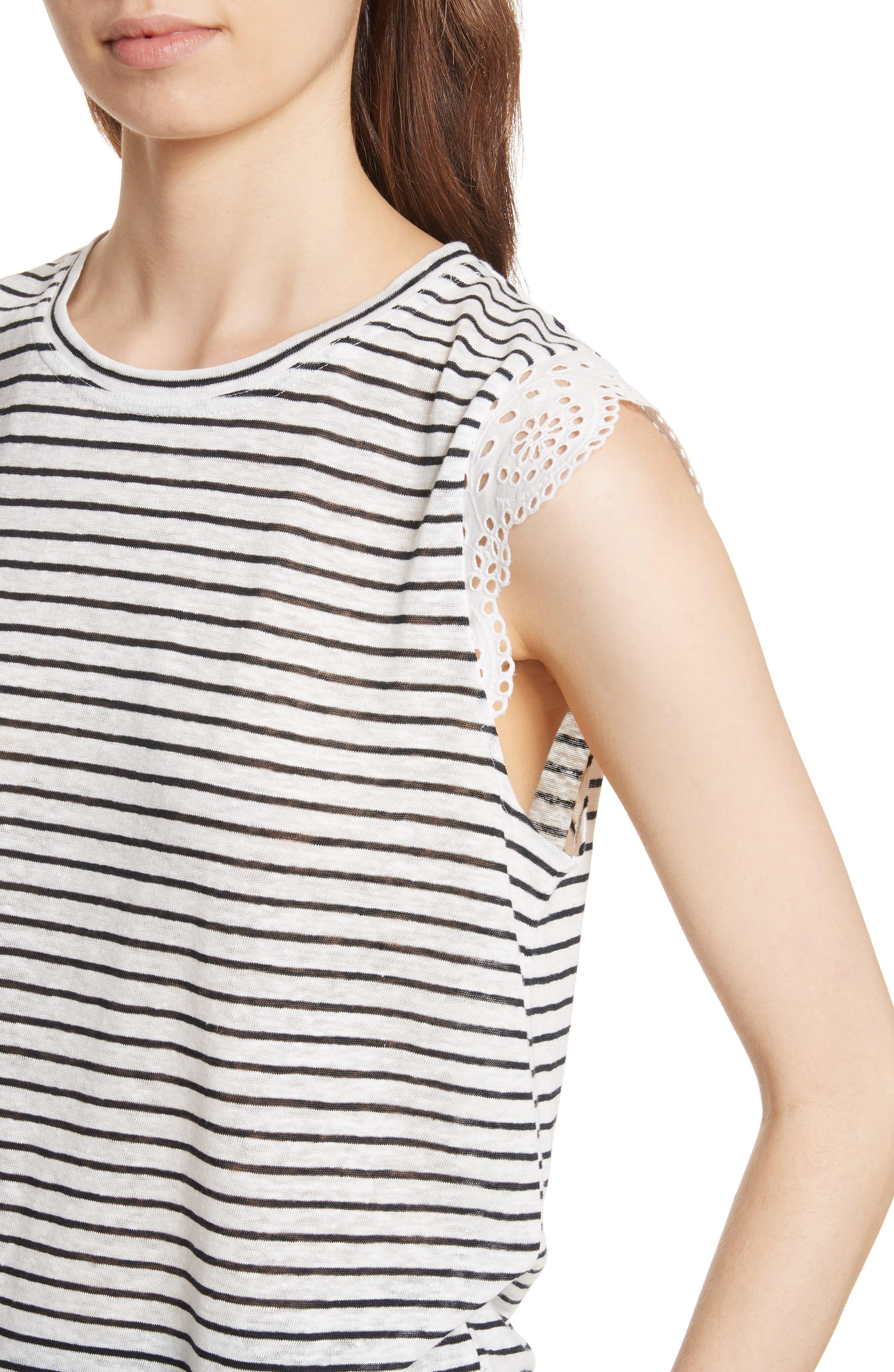 Alternate Image 4  - Joie Acenath Eyelet Sleeve Stripe Linen Tee