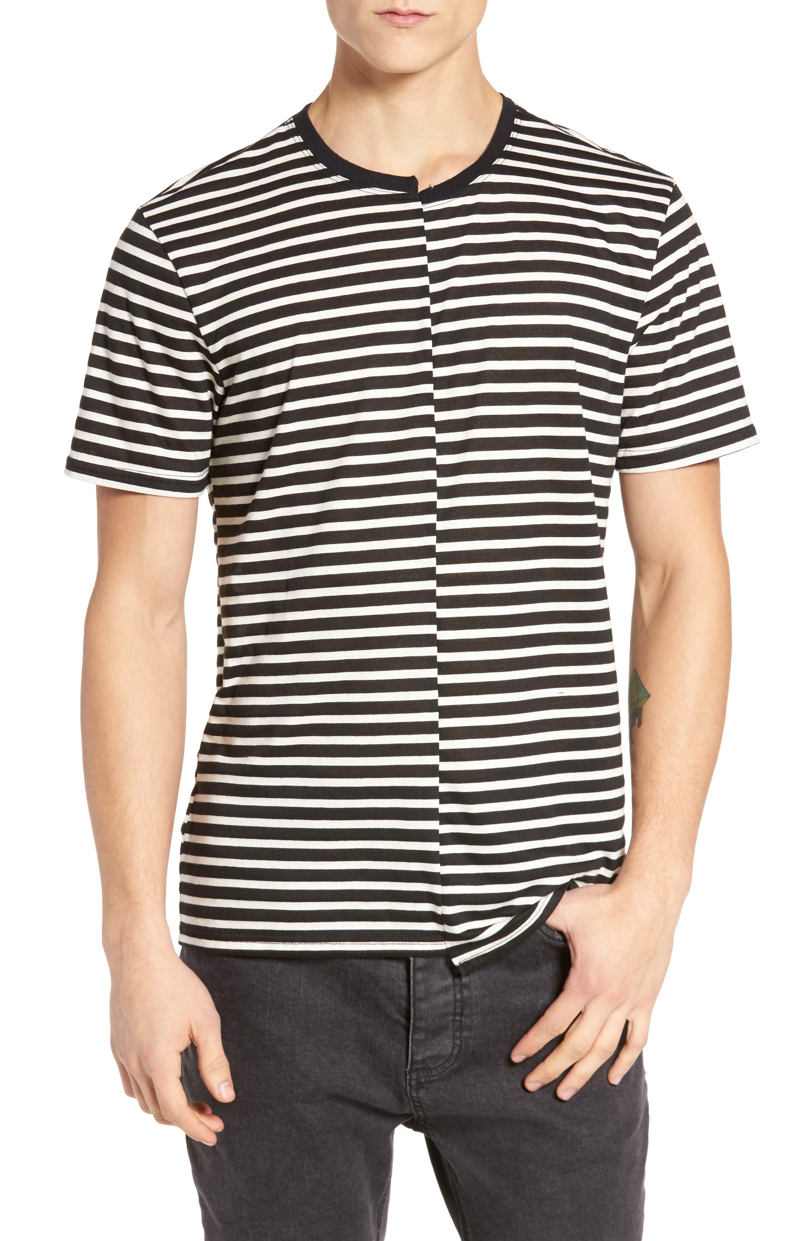 Spliced Stripe T-Shirt,                             Main thumbnail 1, color,                             Black Rock- White Stripe