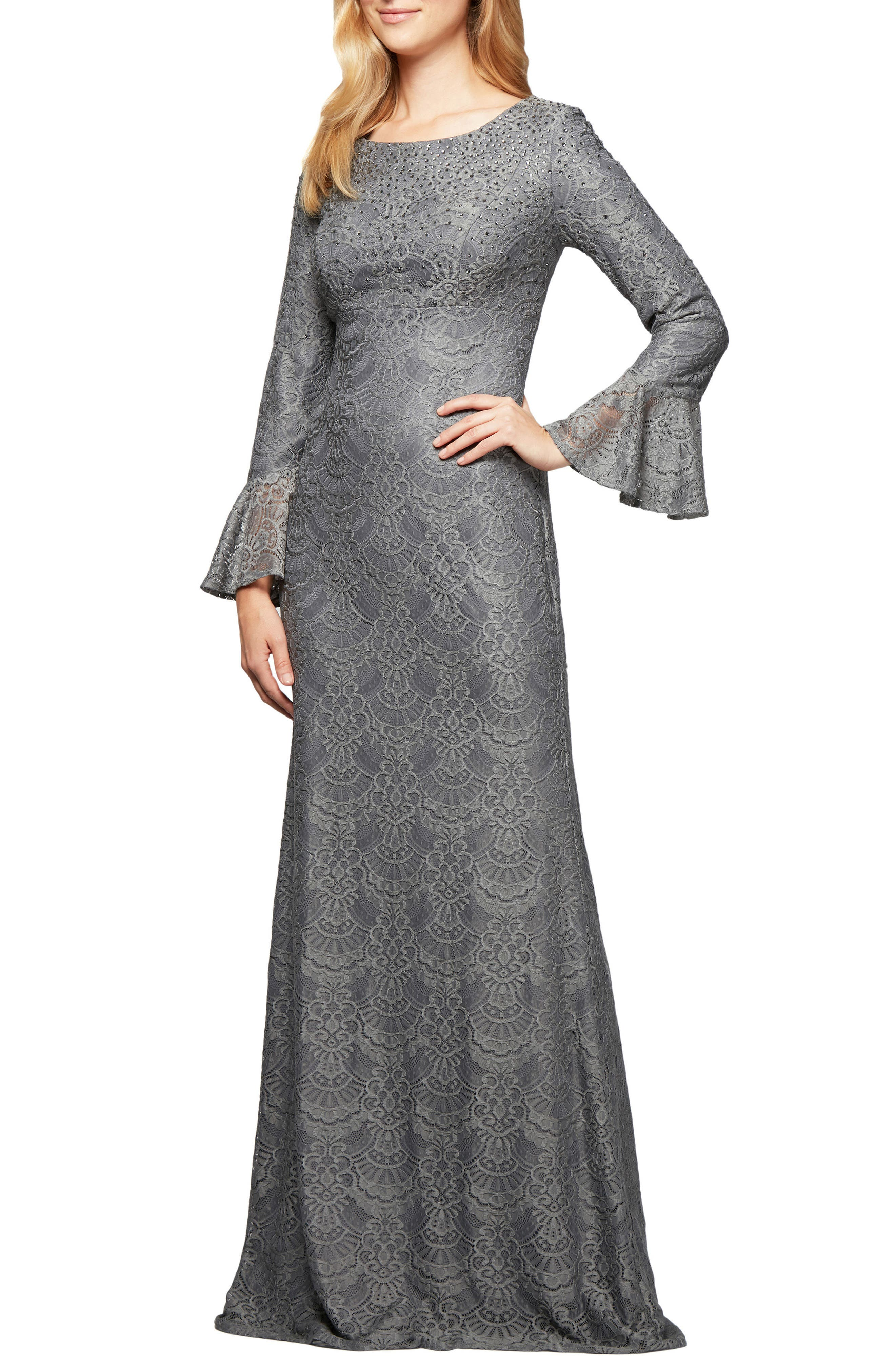 Sequined Lace Gown,                         Main,                         color, Pewter