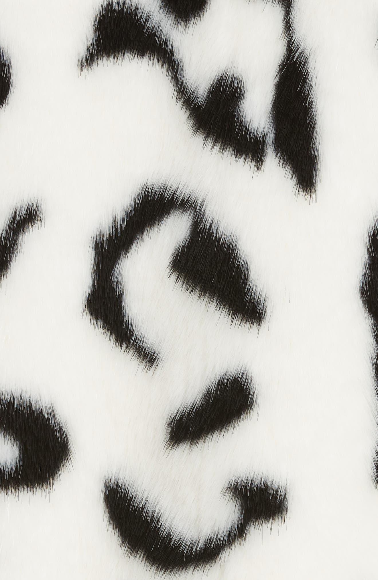 Junior Faux Fur Jacket,                             Alternate thumbnail 6, color,                             White/ Black